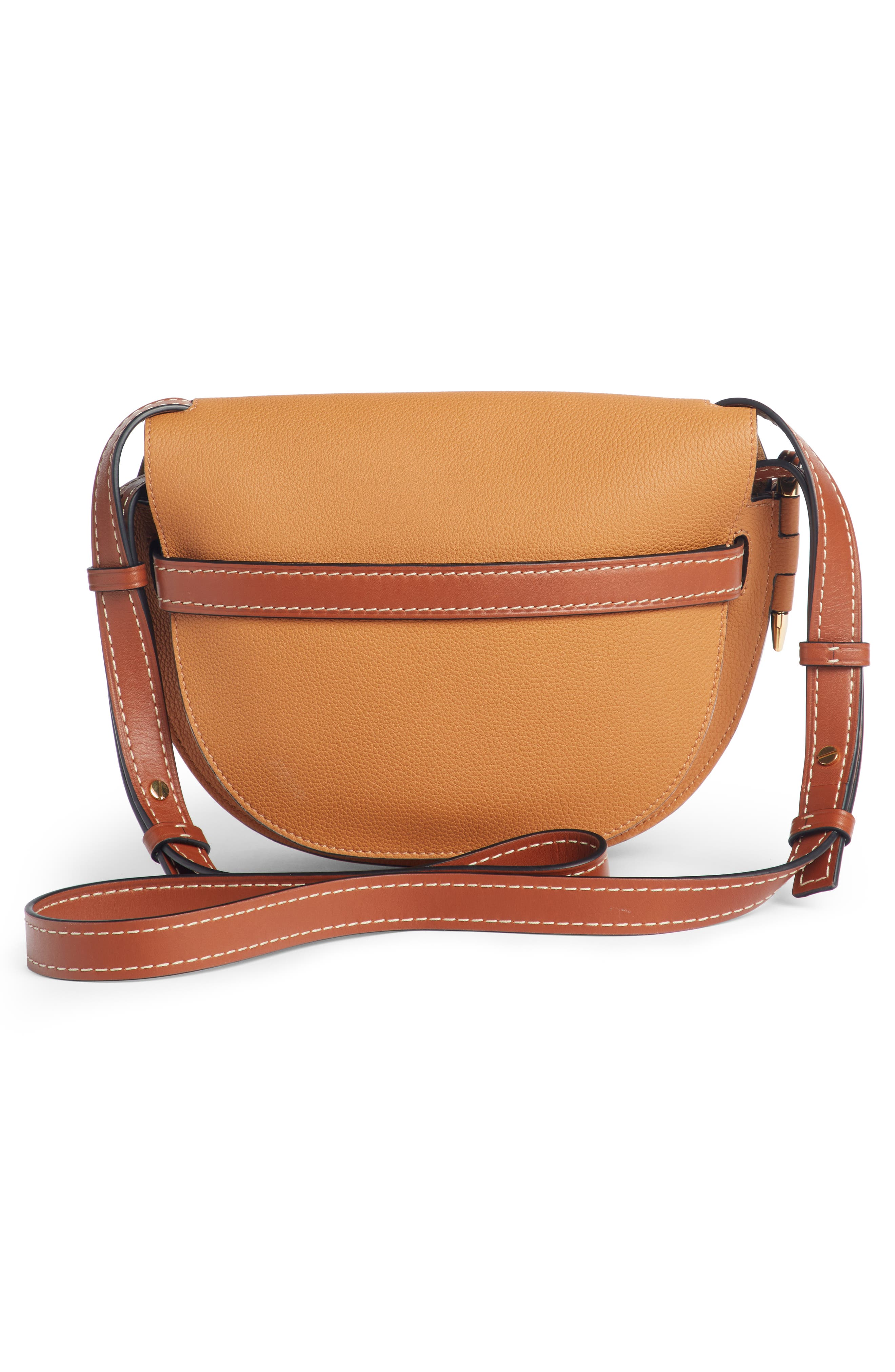 Small Gate Leather Crossbody Bag,                             Alternate thumbnail 3, color,                             LIGHT CARAMEL/ PECAN