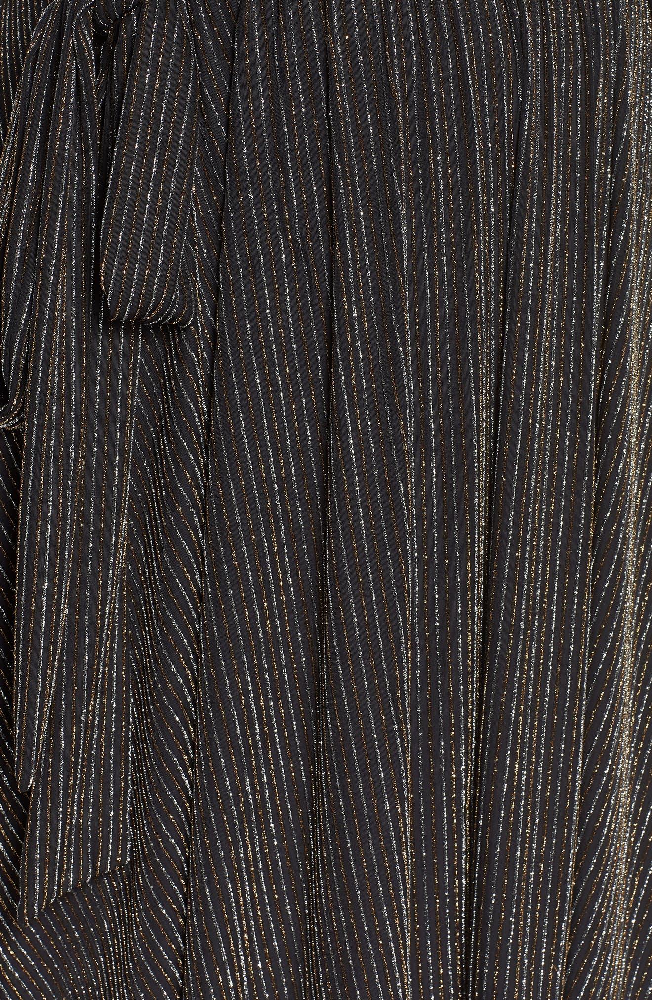 CHELSEA28,                             Metallic Tie Waist Dress,                             Alternate thumbnail 4, color,                             001