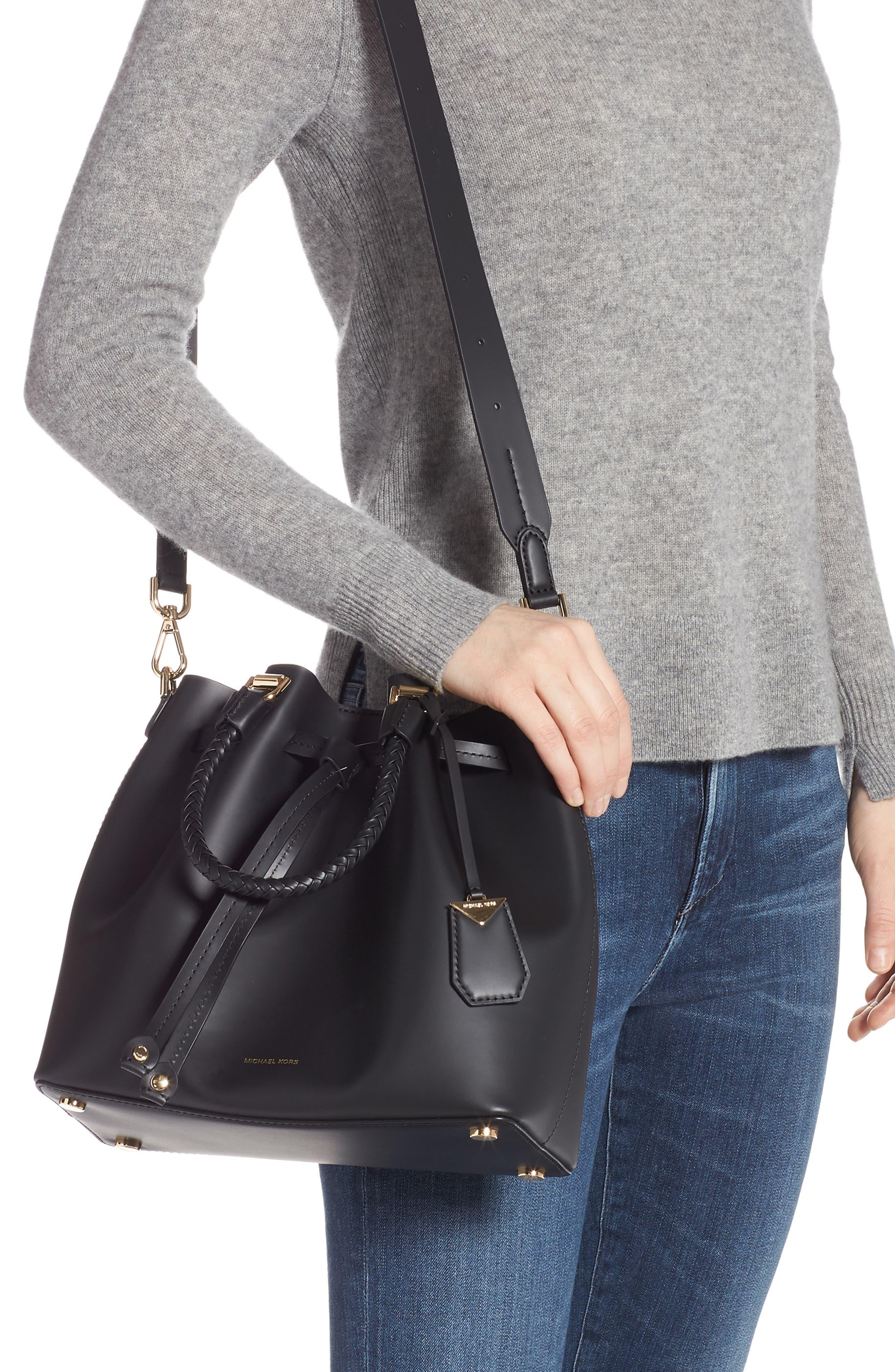 Blakely Leather Bucket Bag,                             Alternate thumbnail 2, color,                             BLACK