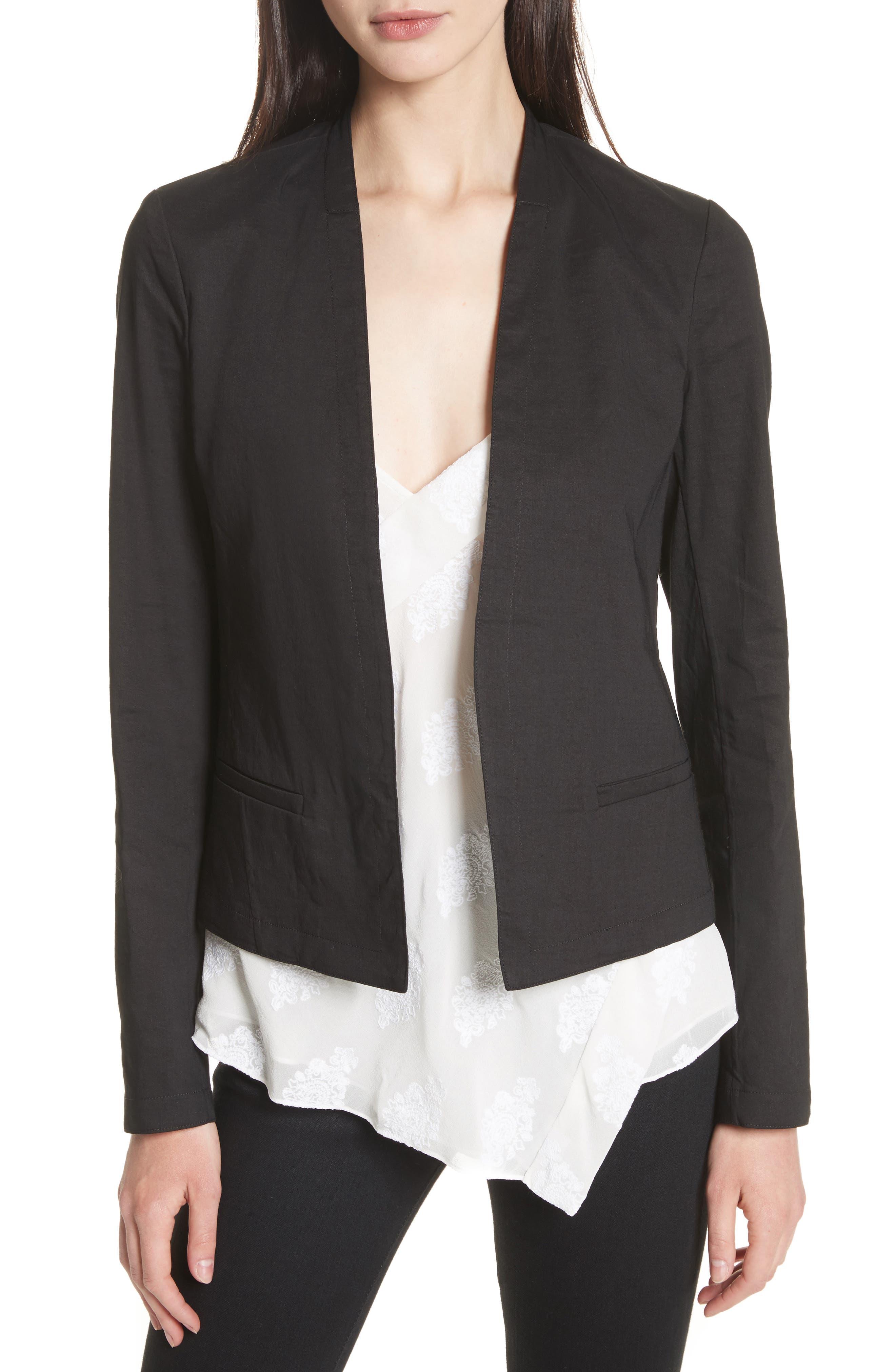 Clean Linen Blend Blazer,                         Main,                         color, 001