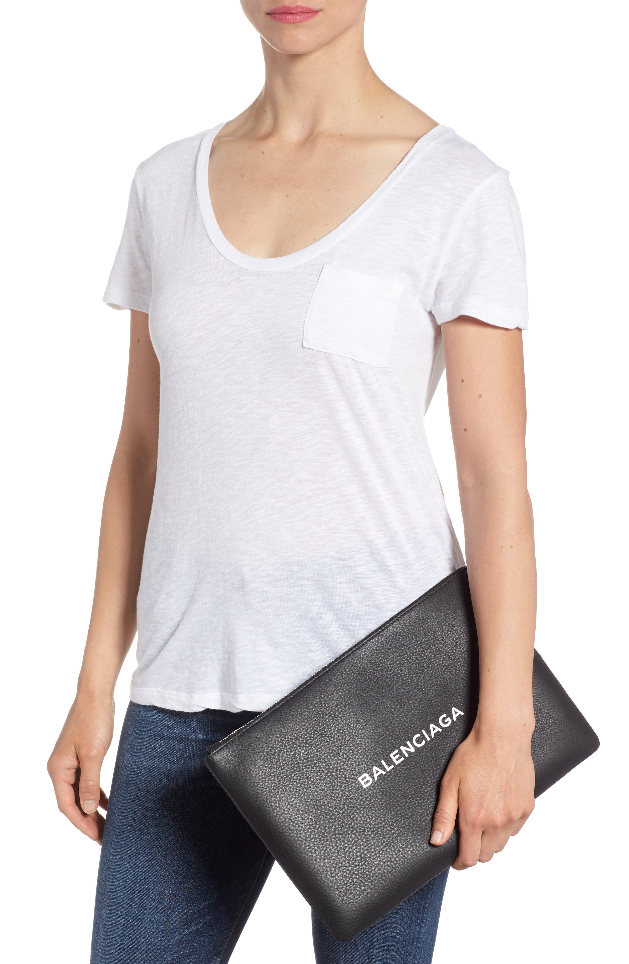 Balencia Large Everyday Leather Pouch,                             Alternate thumbnail 2, color,                             NOIR/ BLANC