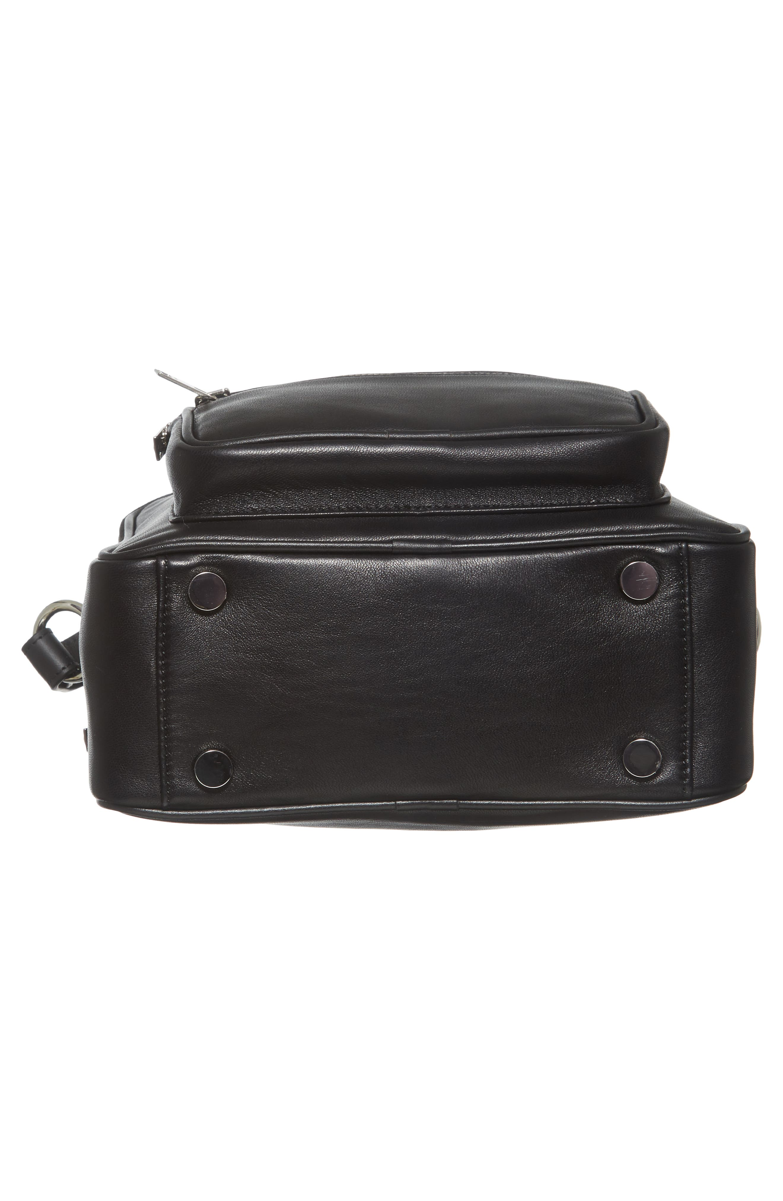 Washed Leather Crossbody Bag,                             Alternate thumbnail 6, color,                             BLACK