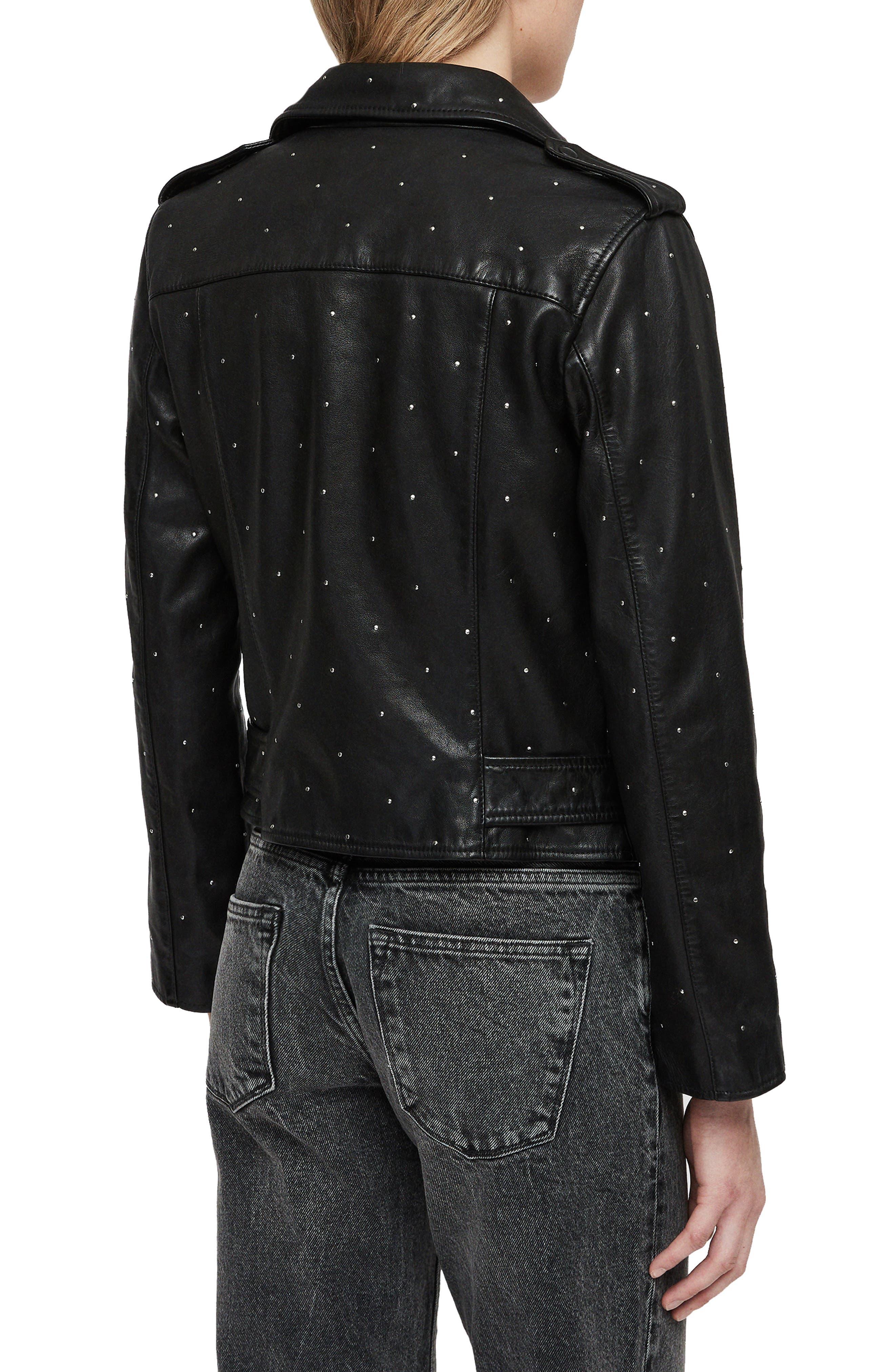 Balfern Studded Leather Biker Jacket,                             Alternate thumbnail 2, color,                             BLACK