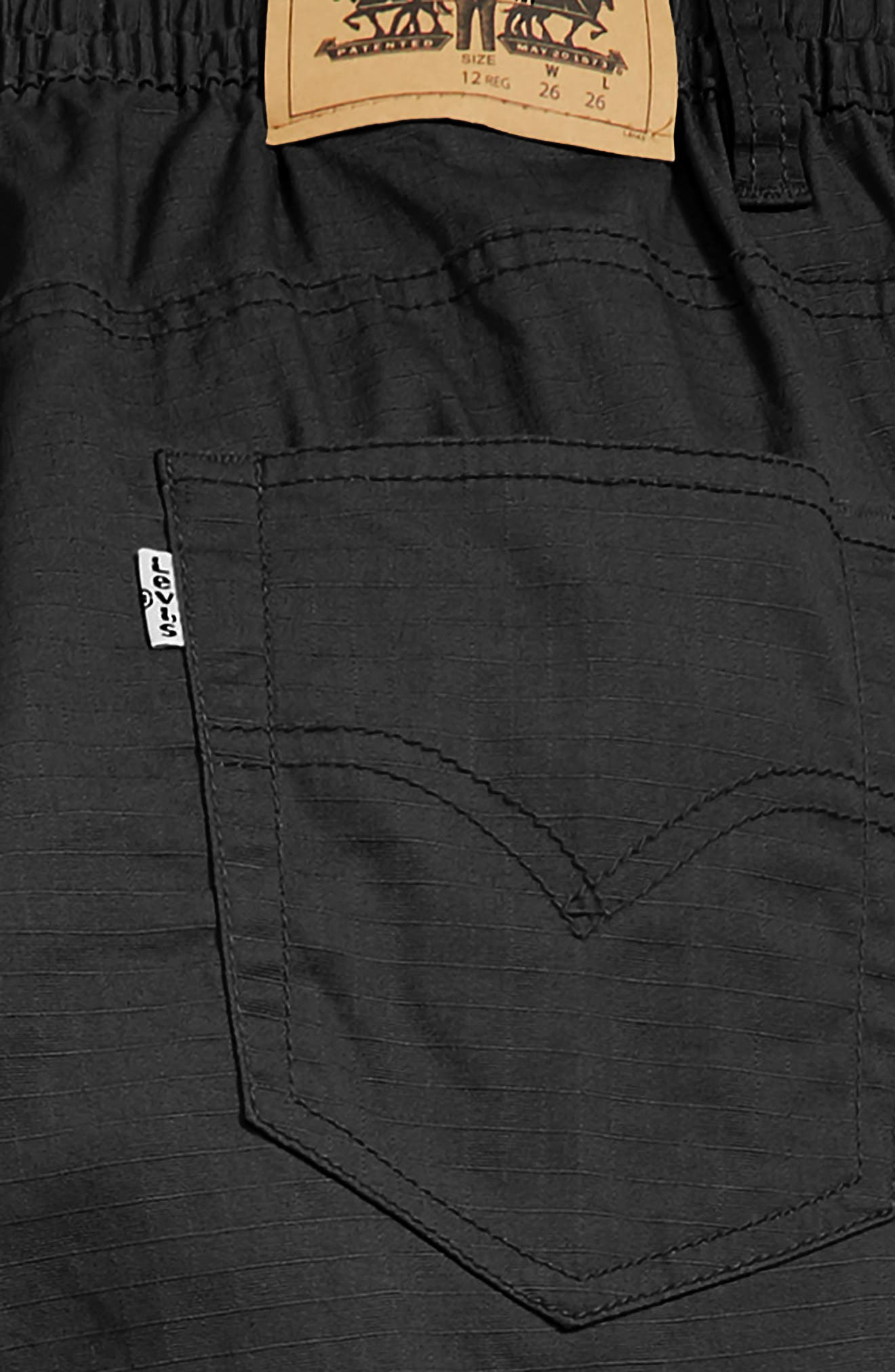Stretch Cargo Tapered Pants,                             Alternate thumbnail 3, color,                             ONYX