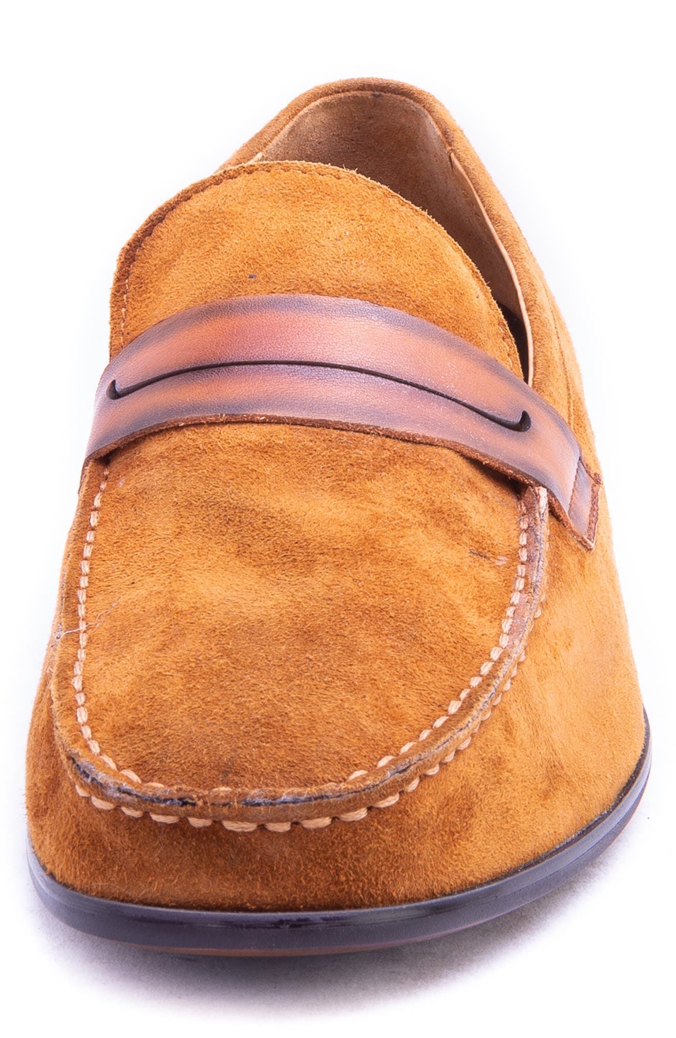 Opie Penny Loafer,                             Alternate thumbnail 4, color,                             COGNAC SUEDE/ LEATHER