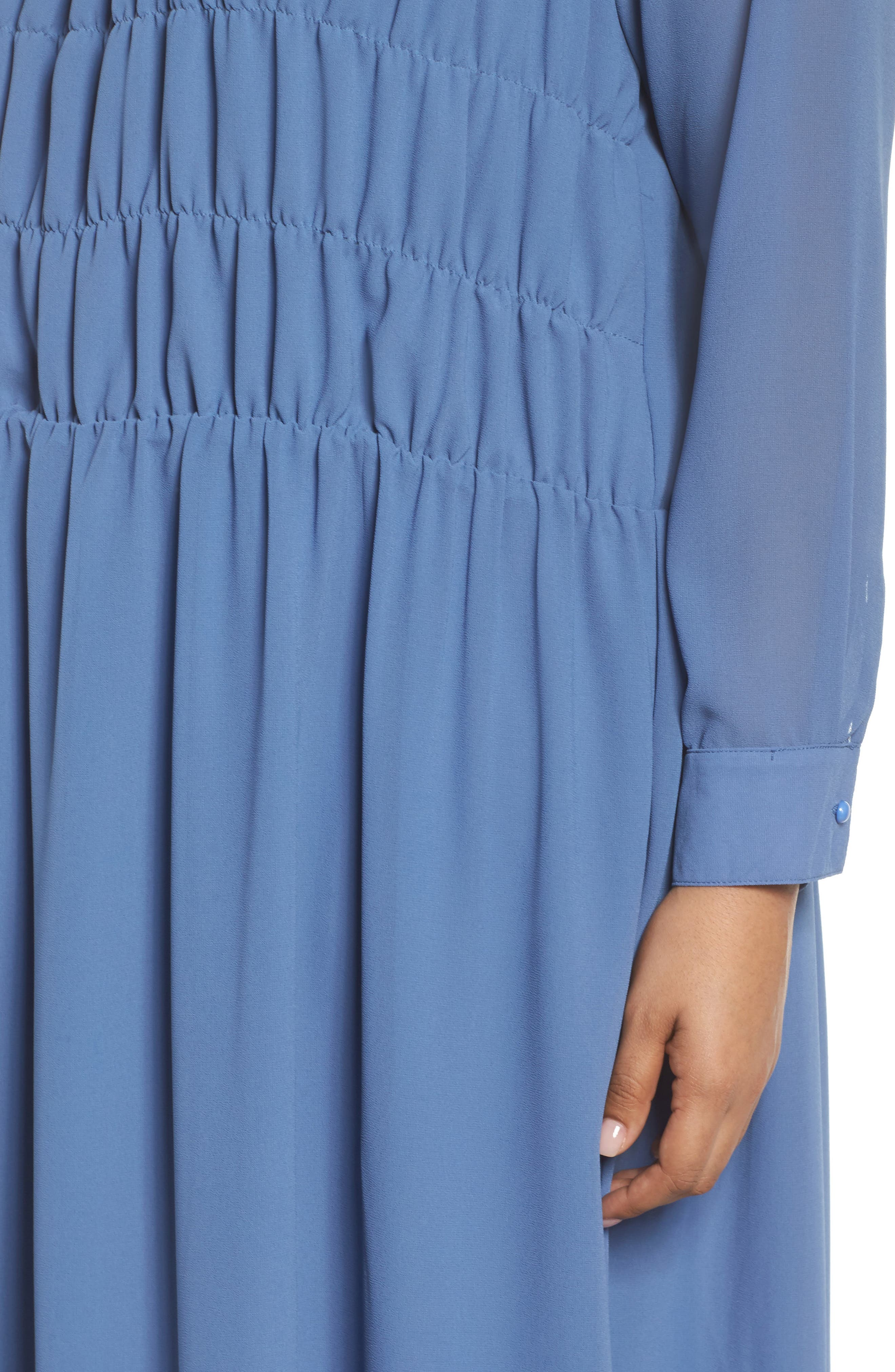 Smocked Chiffon Dress,                             Alternate thumbnail 4, color,                             400
