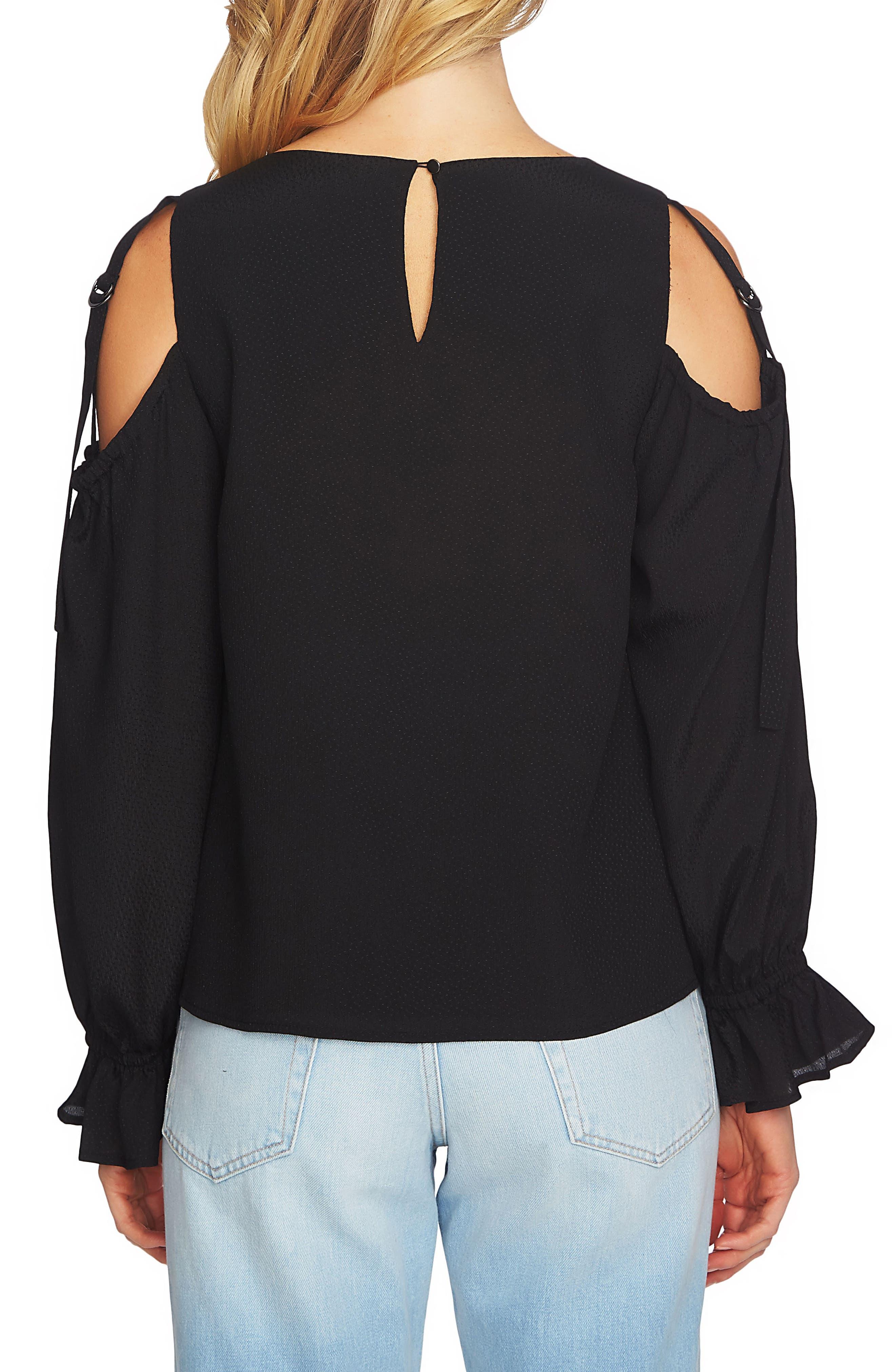 Blouson Sleeve Cold Shoulder Top,                             Alternate thumbnail 2, color,                             006