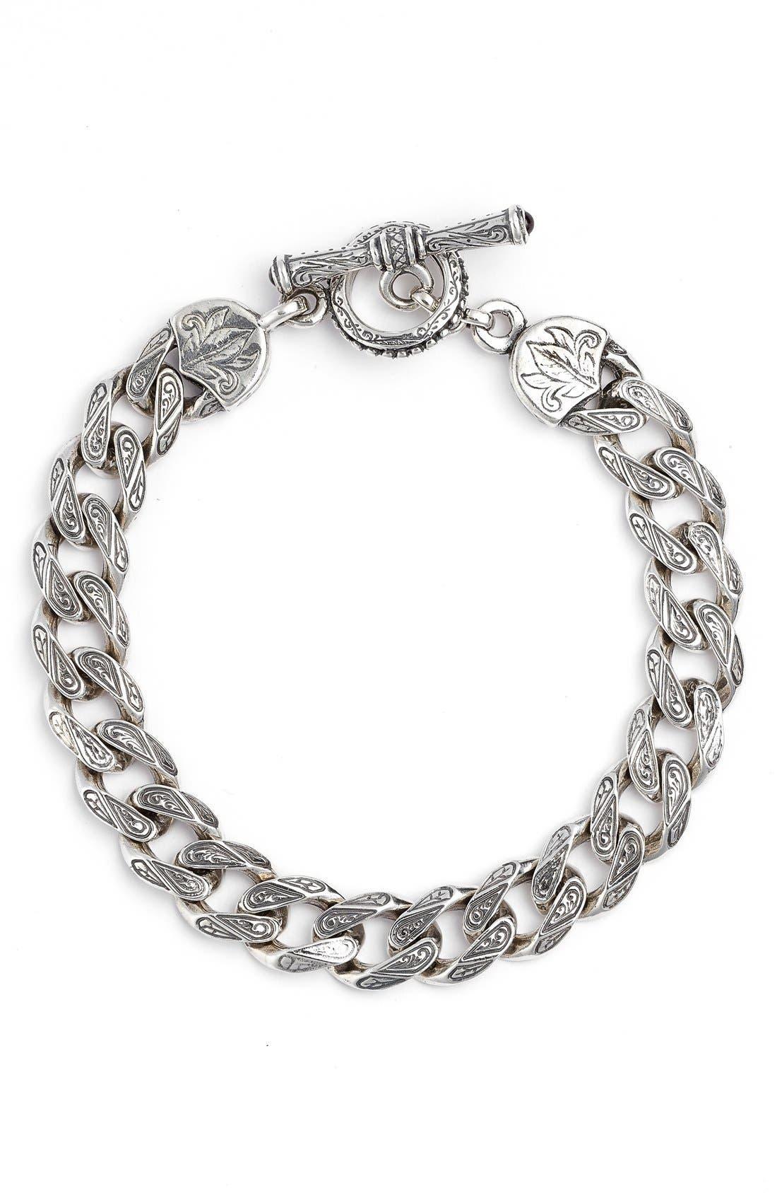 Silver Classics Etched Link Bracelet,                             Main thumbnail 1, color,                             040