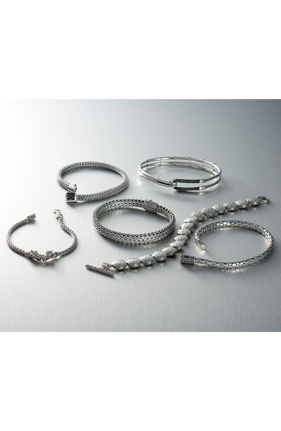 Classic Chain 5mm Bracelet,                             Alternate thumbnail 3, color,                             SILVER/ TSAVORITE
