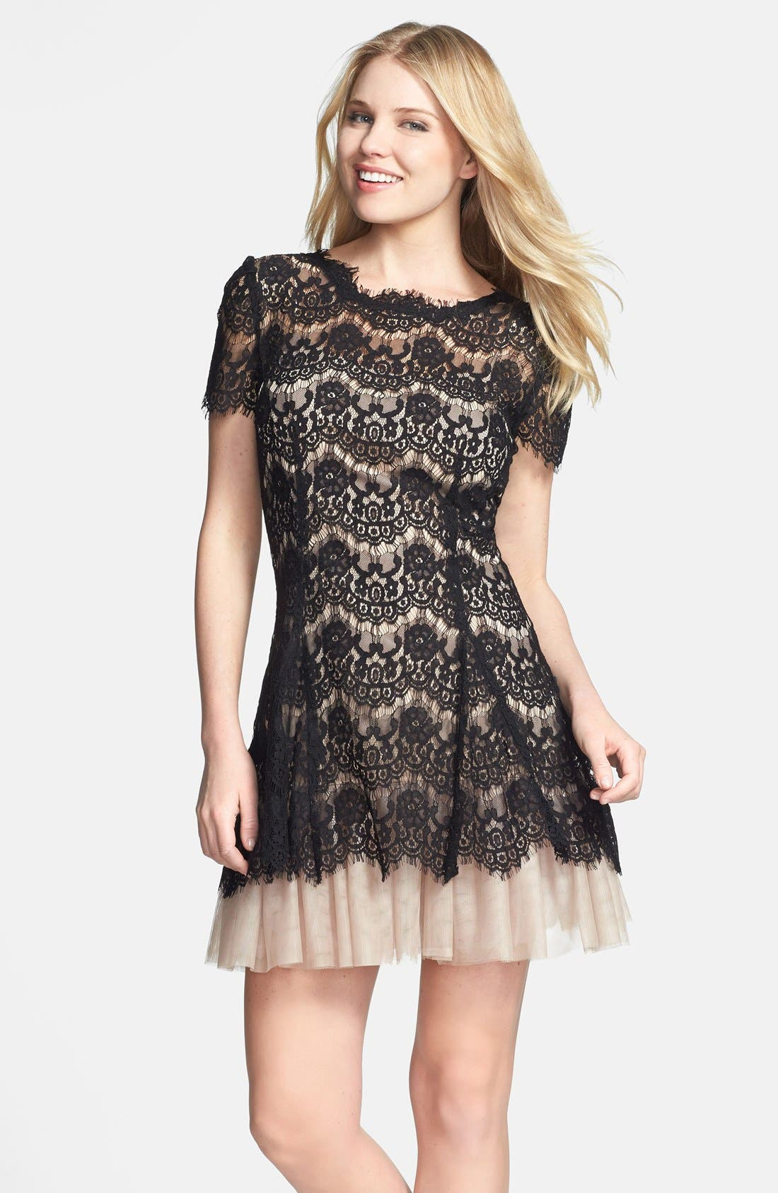 BETSY & ADAM,                             Short Sleeve Lace Fit & Flare Dress,                             Main thumbnail 1, color,                             001