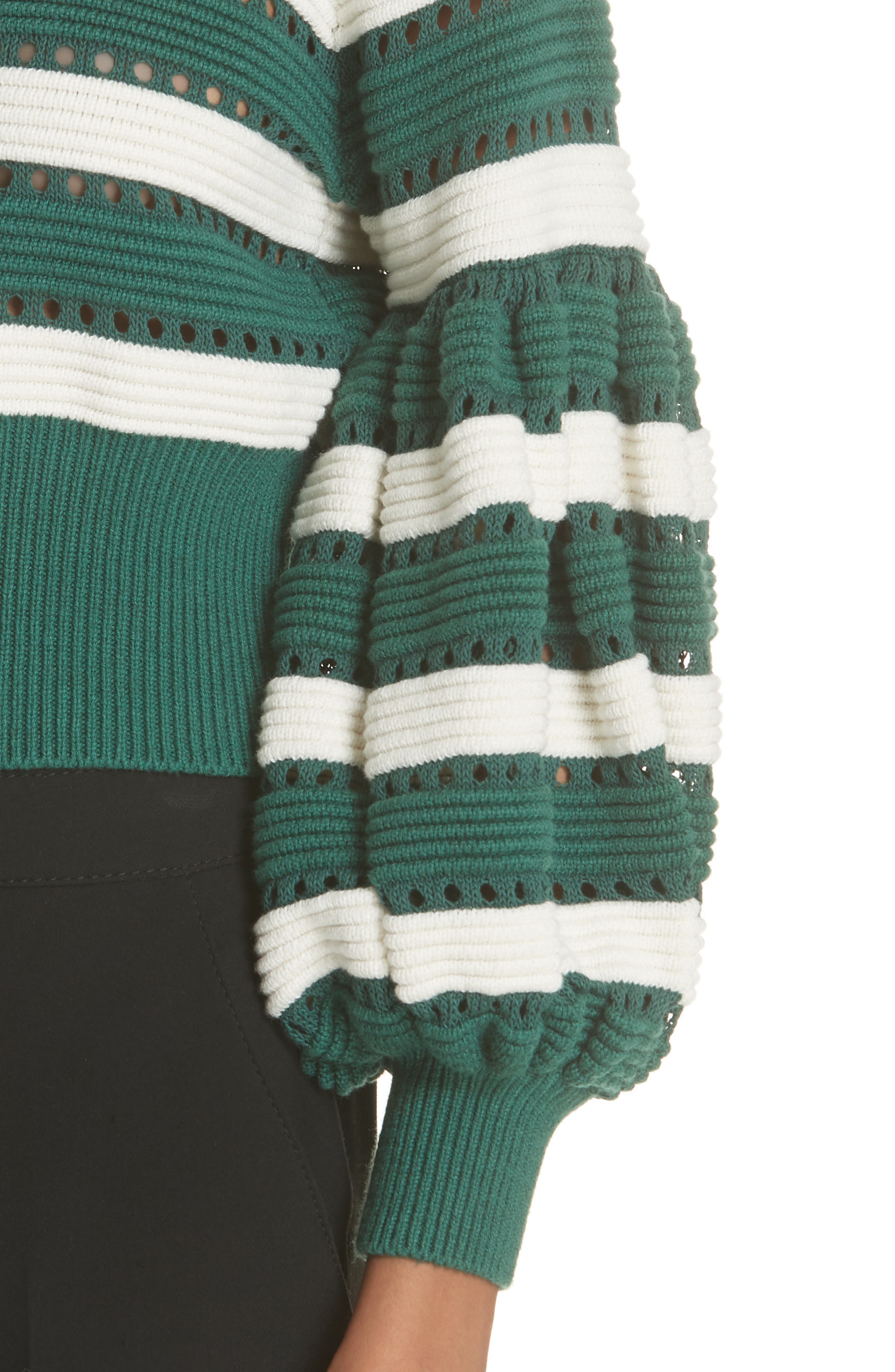 Puff Sleeve Cotton & Wool Crop Sweater,                             Alternate thumbnail 4, color,                             GREEN-CREAM