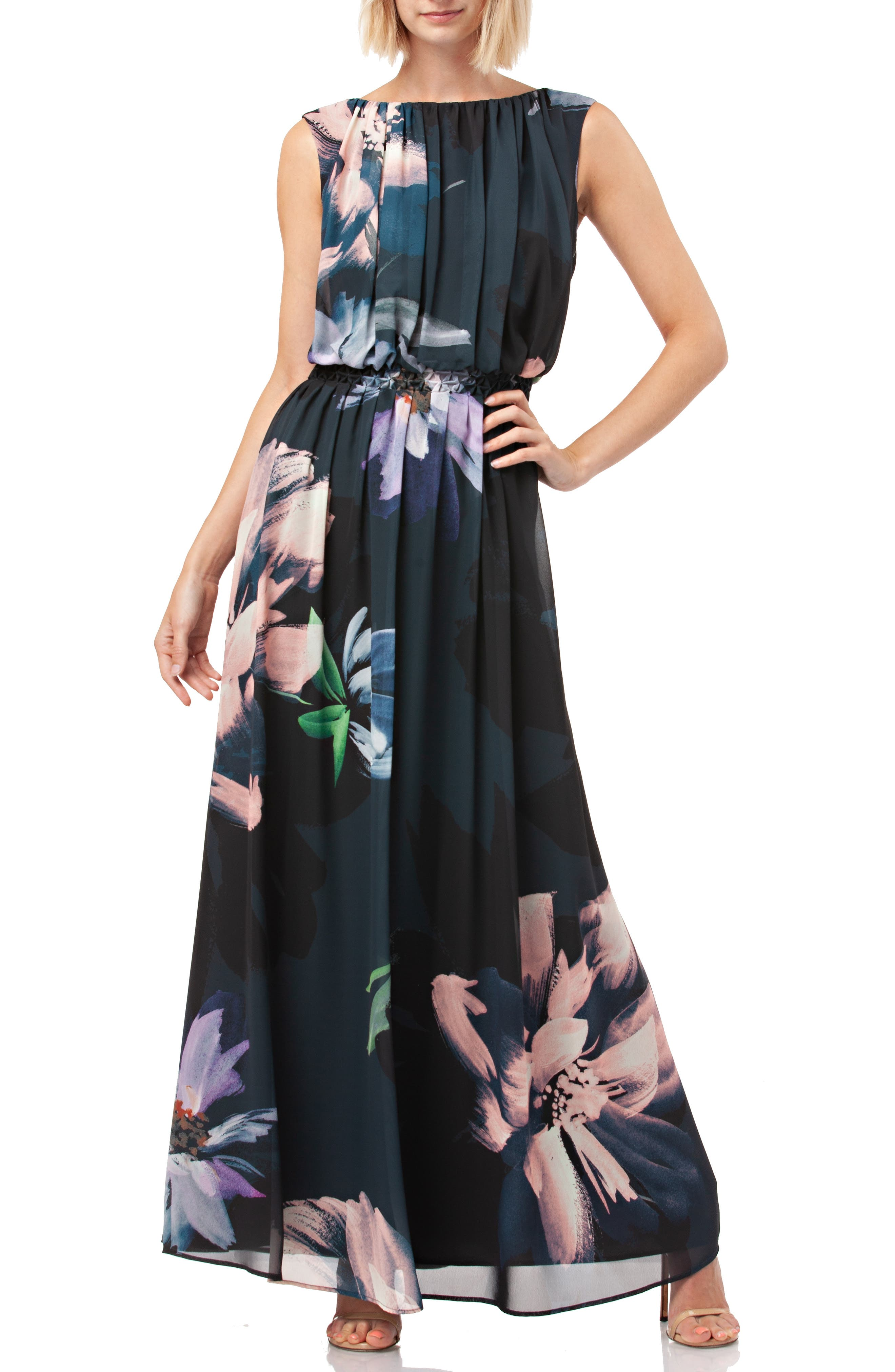 Floral Print Chiffon Gown,                             Main thumbnail 1, color,                             BLACK MULTI