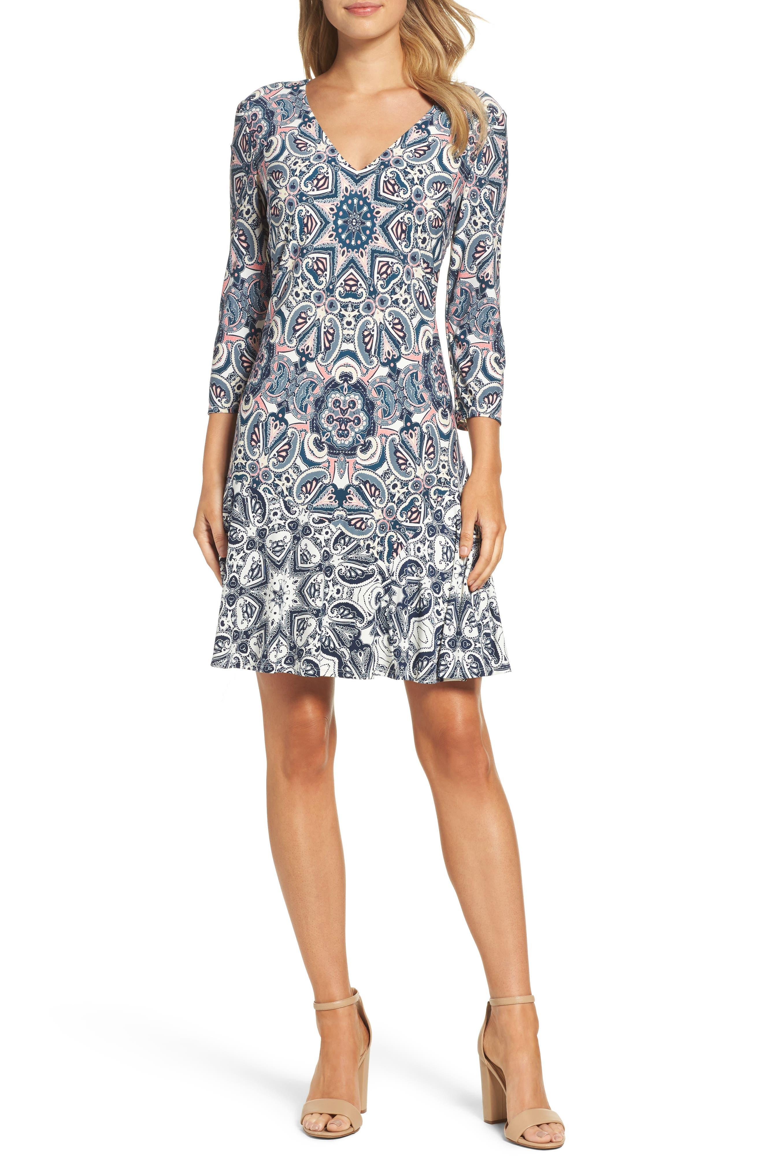ELIZA J,                             Print Knit A-Line Dress,                             Main thumbnail 1, color,                             TEAL