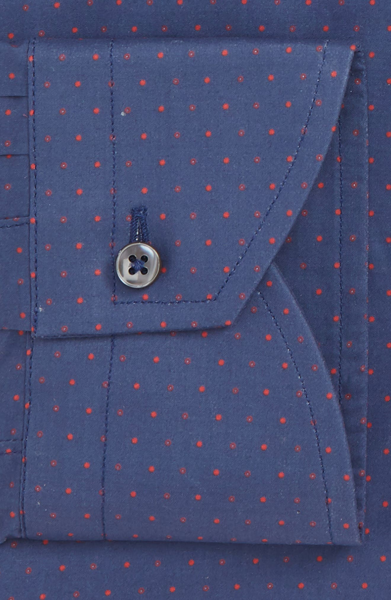 Regular Fit Dot Dress Shirt,                             Alternate thumbnail 7, color,                             DARK BLUE