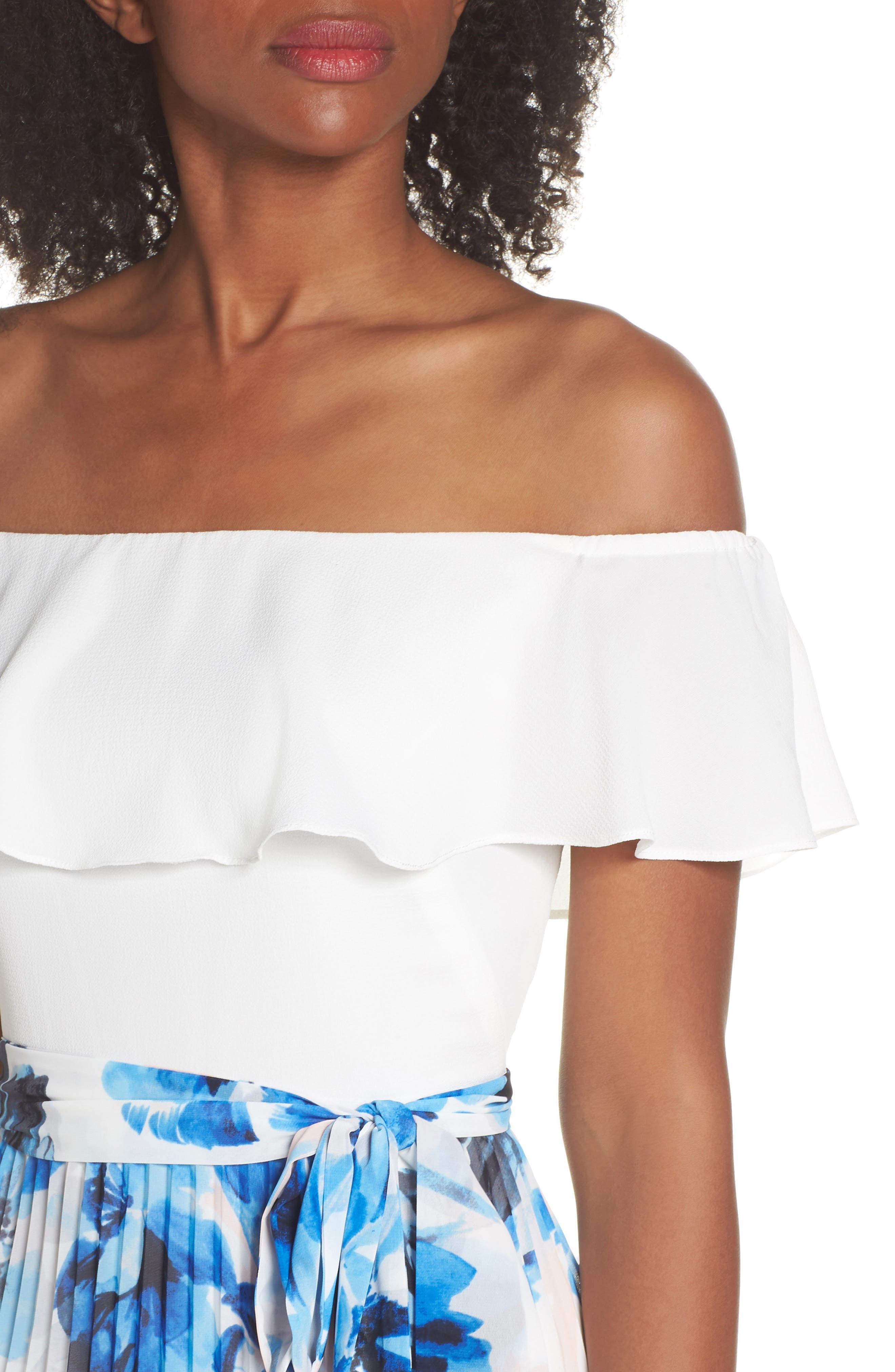 ELIZA J,                             Ruffle Off the Shoulder Maxi Dress,                             Alternate thumbnail 4, color,                             421