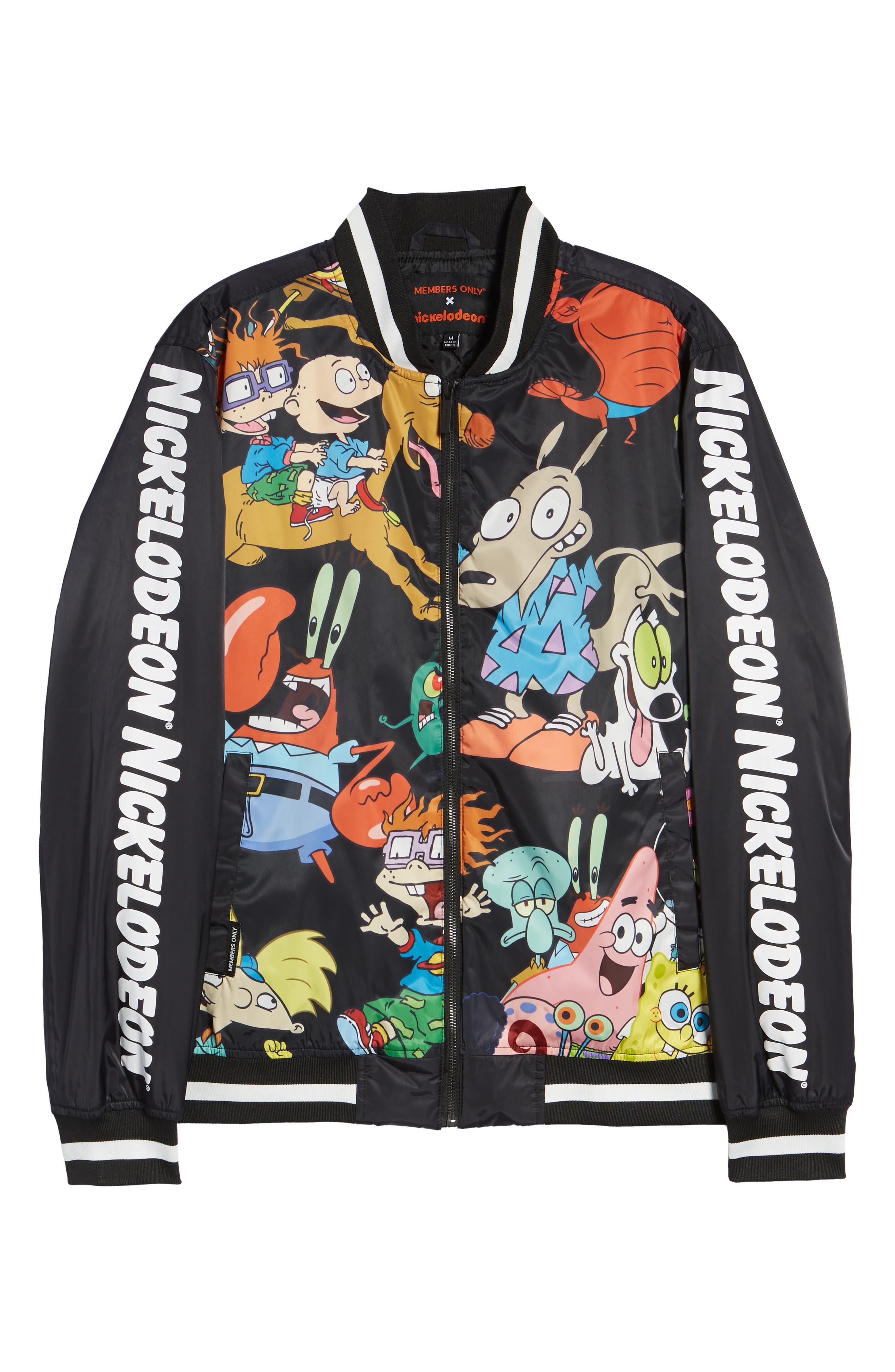 Mashup Nickelodeon Bomber Jacket,                             Alternate thumbnail 5, color,                             BLACK