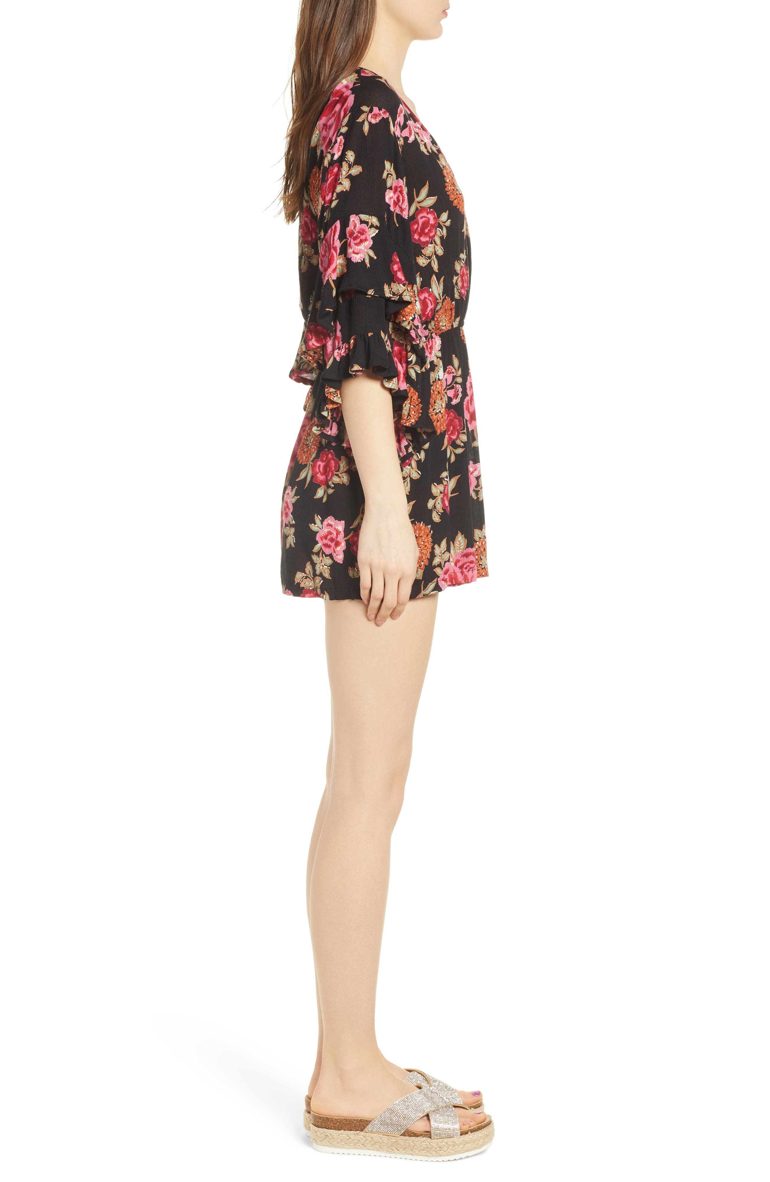 Print Ruffle Surplice Romper,                             Alternate thumbnail 5, color,