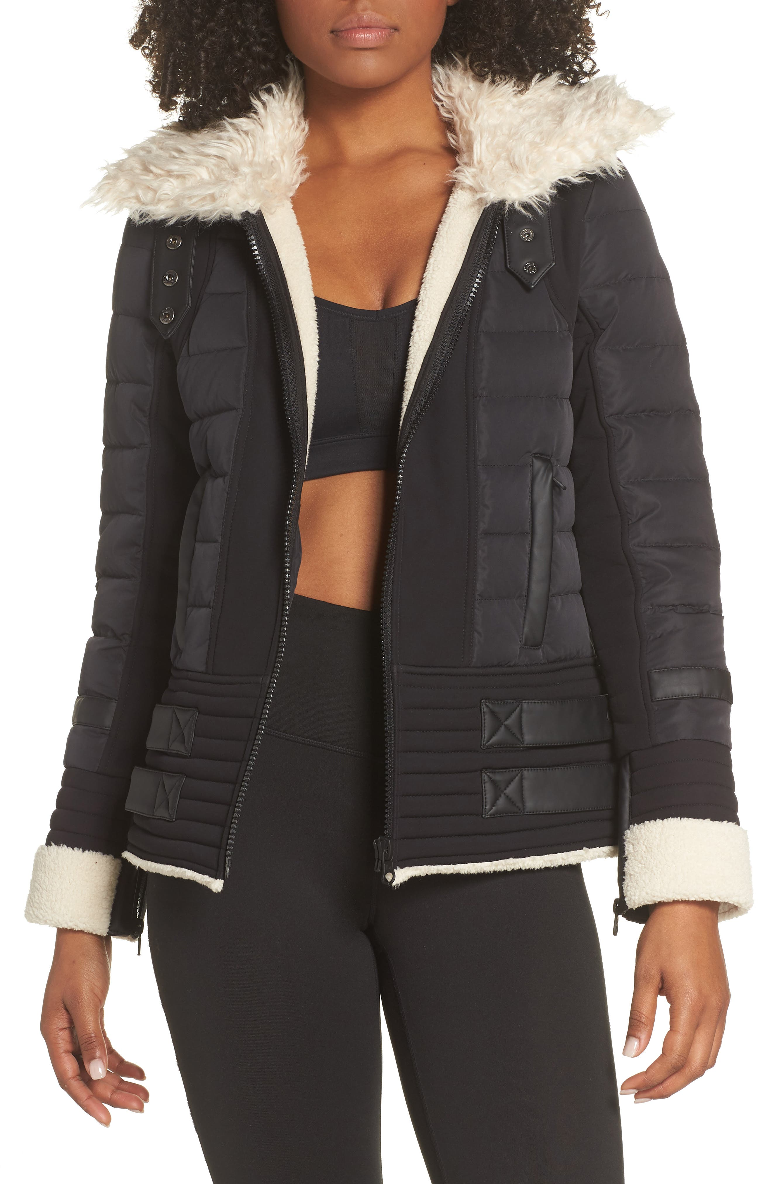BLANC NOIR,                             Moto Aviator Puffer Jacket,                             Alternate thumbnail 4, color,                             BLACK
