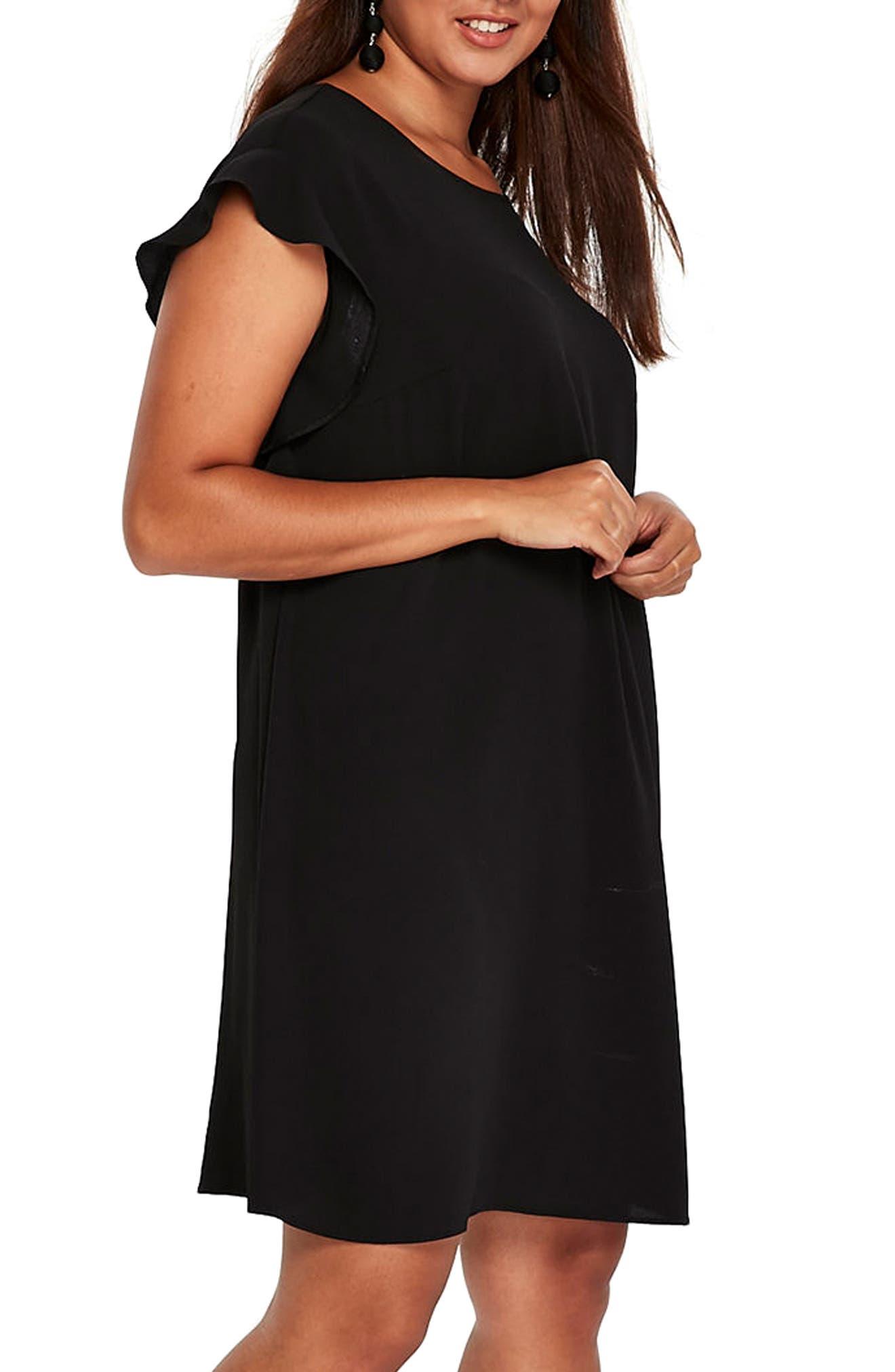 Ruffle Sleeve Shift Dress,                             Alternate thumbnail 3, color,                             001