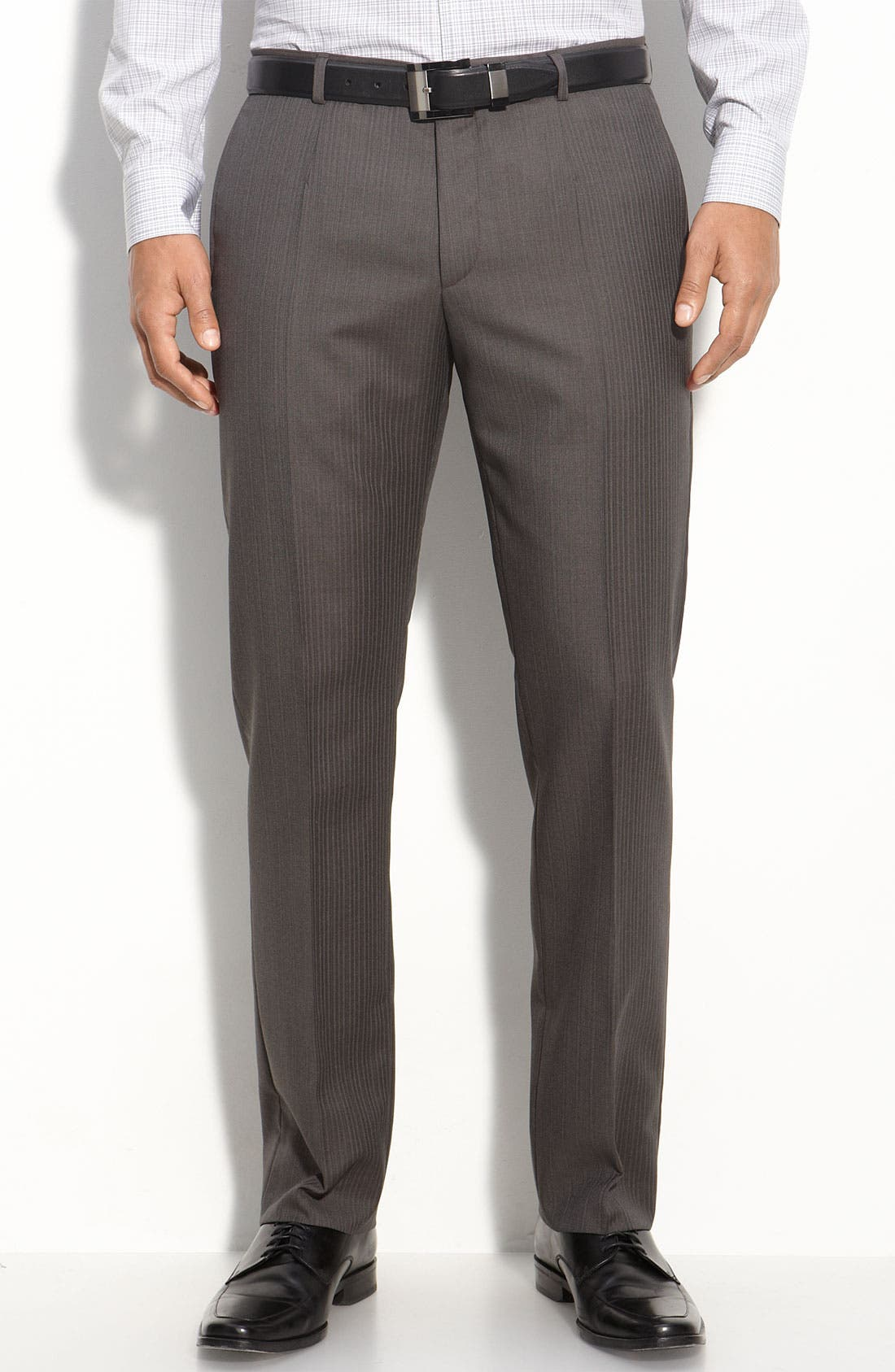 ZZDNUHUGO BOSS,                             HUGO 'Amaro/Heise' Grey Shadow Stripe Wool Suit,                             Alternate thumbnail 2, color,                             030