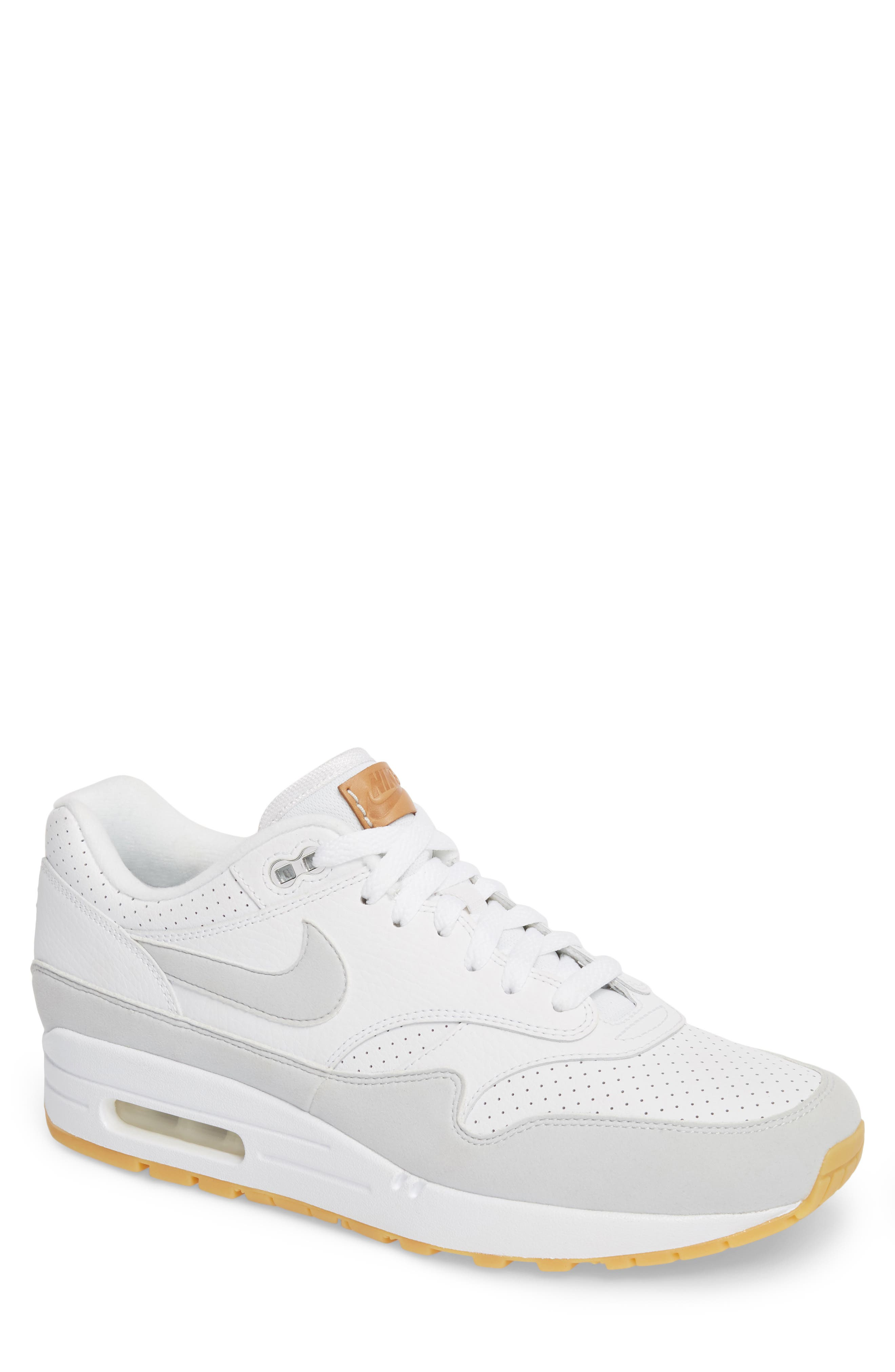 Air Max 1 Sneaker,                         Main,                         color, WHITE/ PURE PLATINUM/ YELLOW
