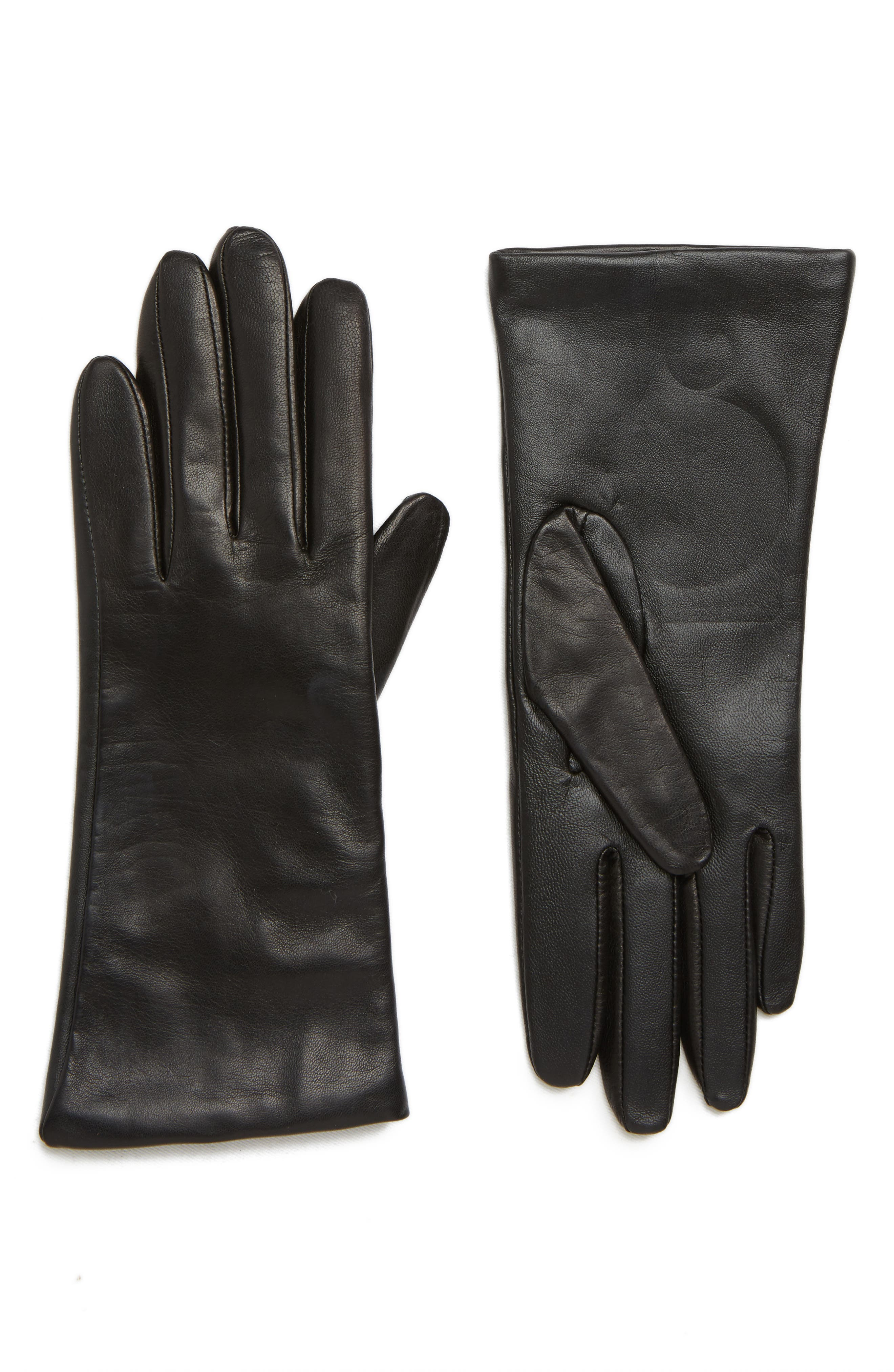Cashmere Lined Leather Touchscreen Gloves,                             Main thumbnail 1, color,                             BLACK