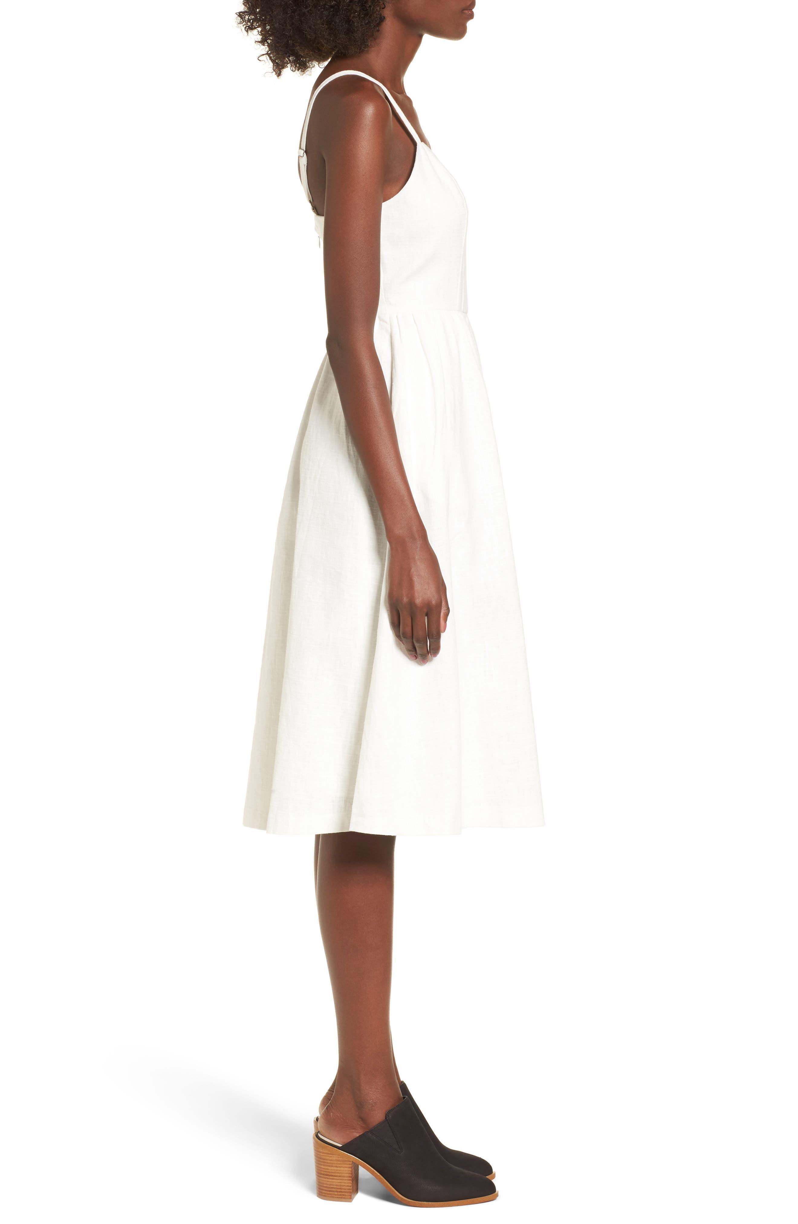 Cotton & Linen Ballerina Midi Dress,                             Alternate thumbnail 3, color,                             WHITE