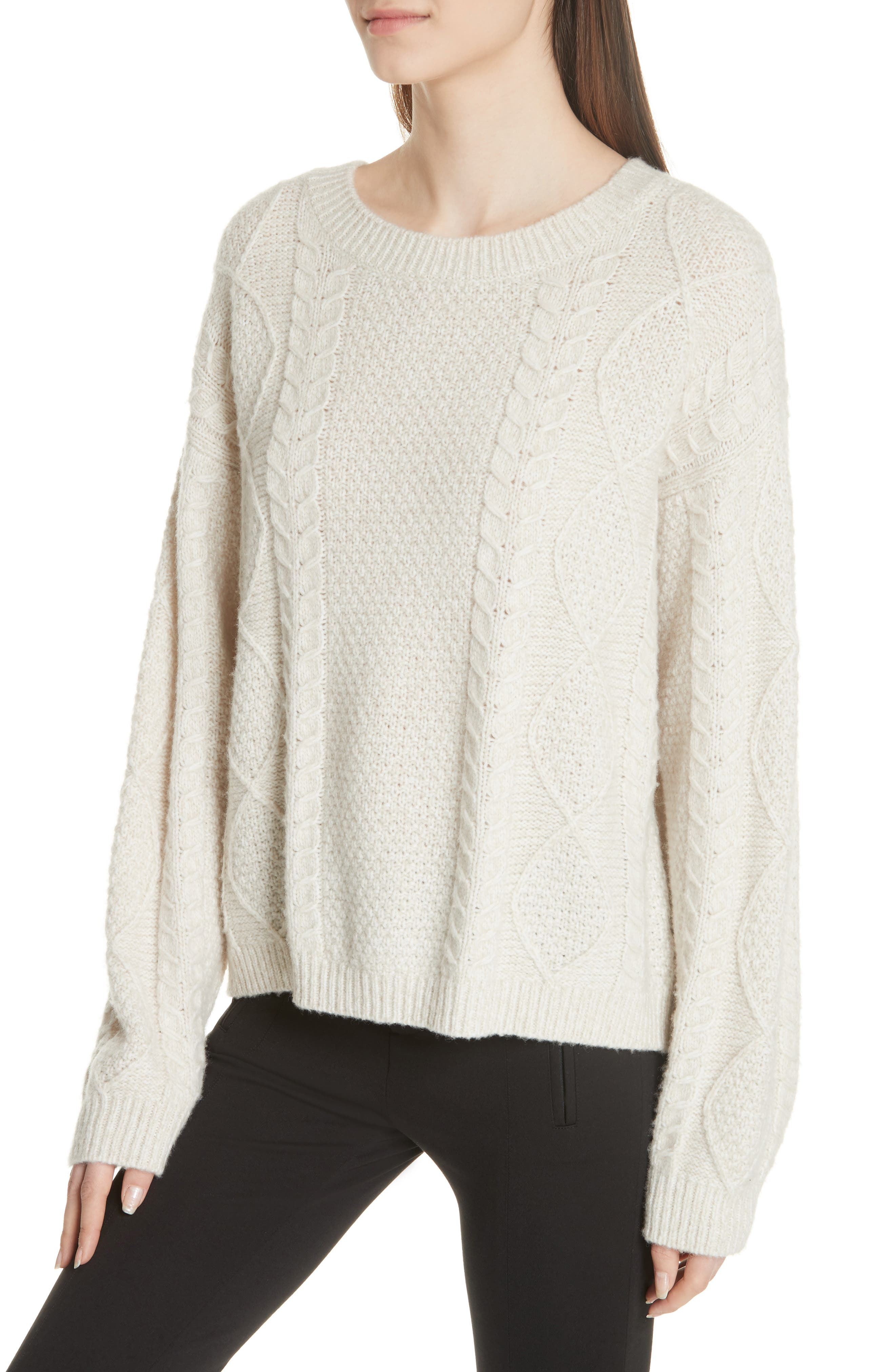 Wool & Cashmere Blend Cable Knit Sweater,                             Alternate thumbnail 4, color,                             901