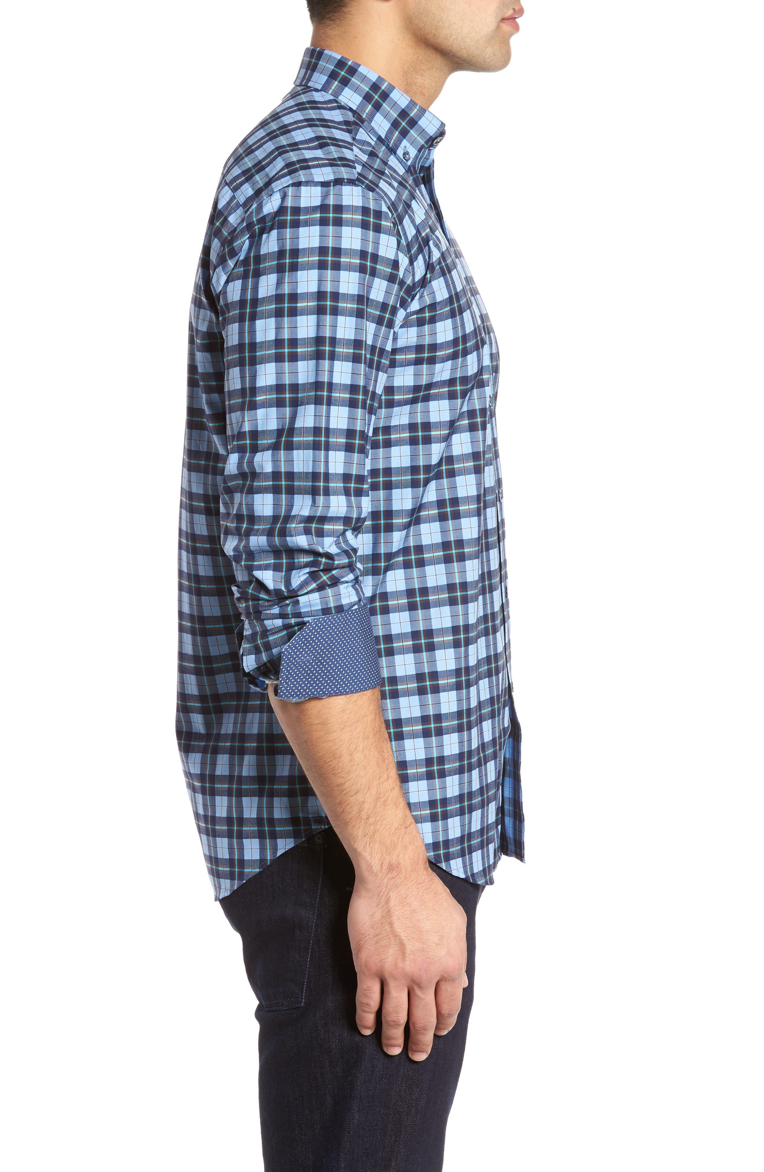 Trim Fit Check Sport Shirt,                             Alternate thumbnail 3, color,                             459