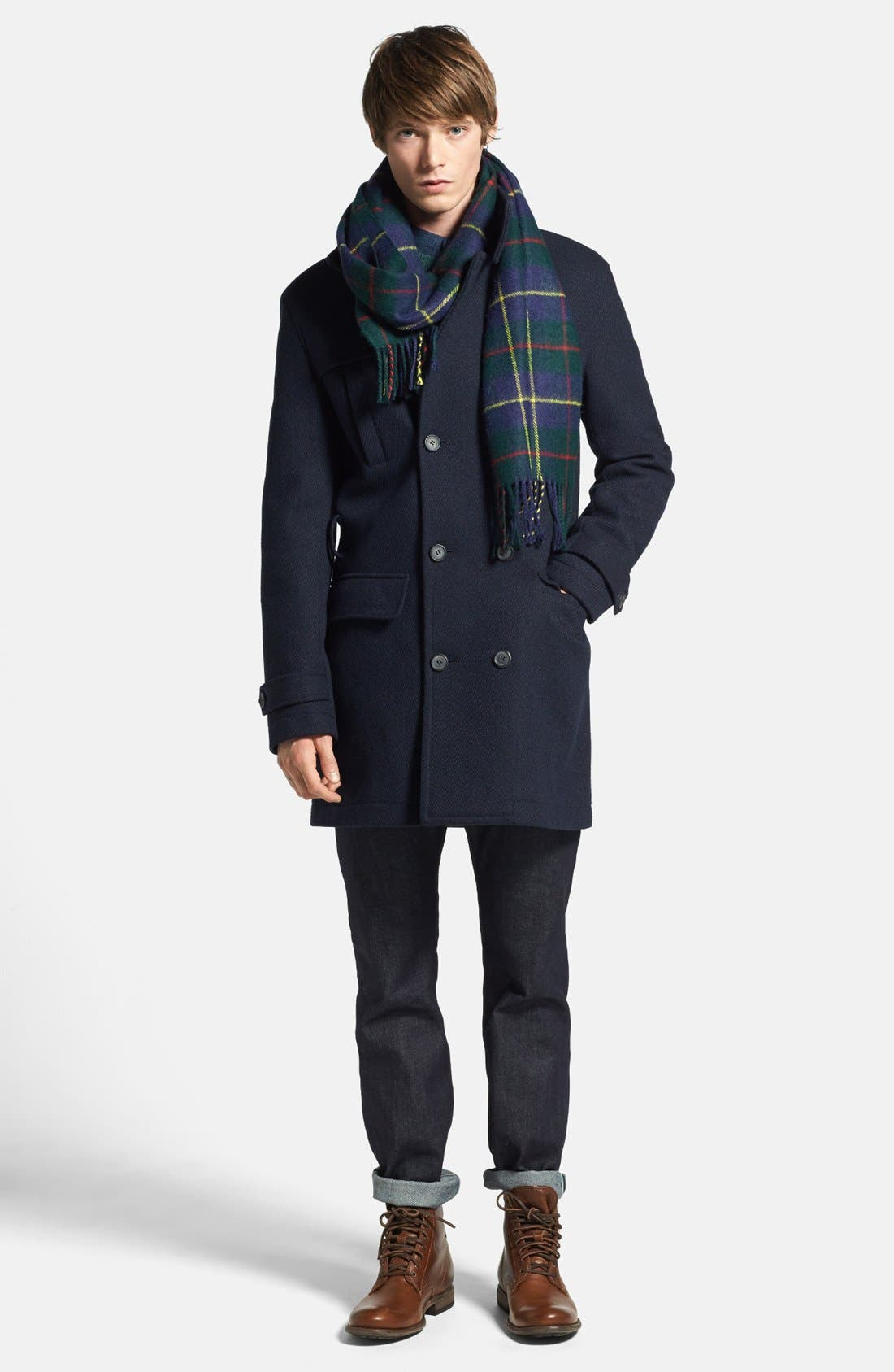TOPMAN,                             Double Breasted Wool Blend Trench Coat,                             Alternate thumbnail 4, color,                             410