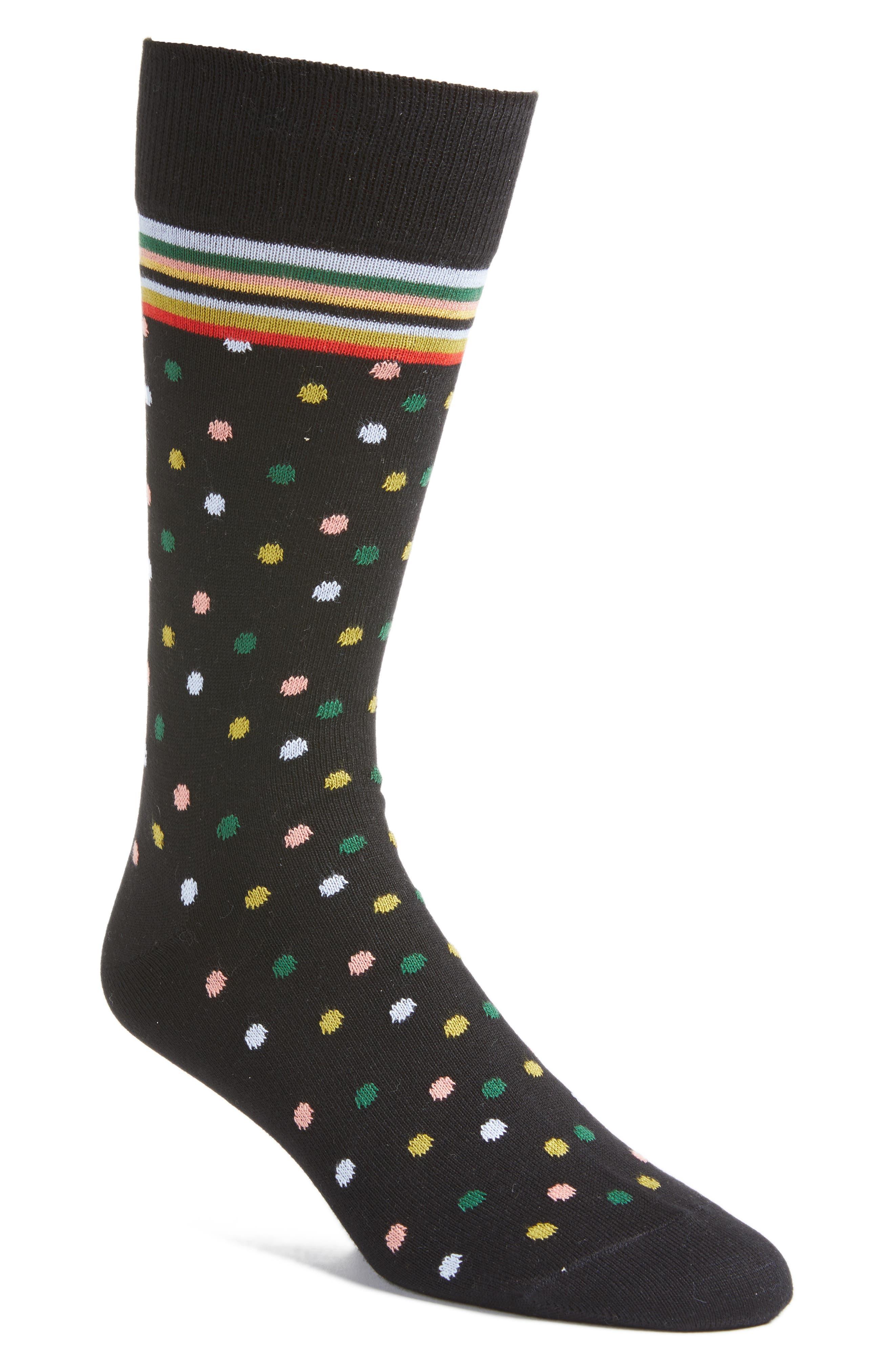 Multi Mixer Dot Crew Socks,                             Main thumbnail 1, color,                             001