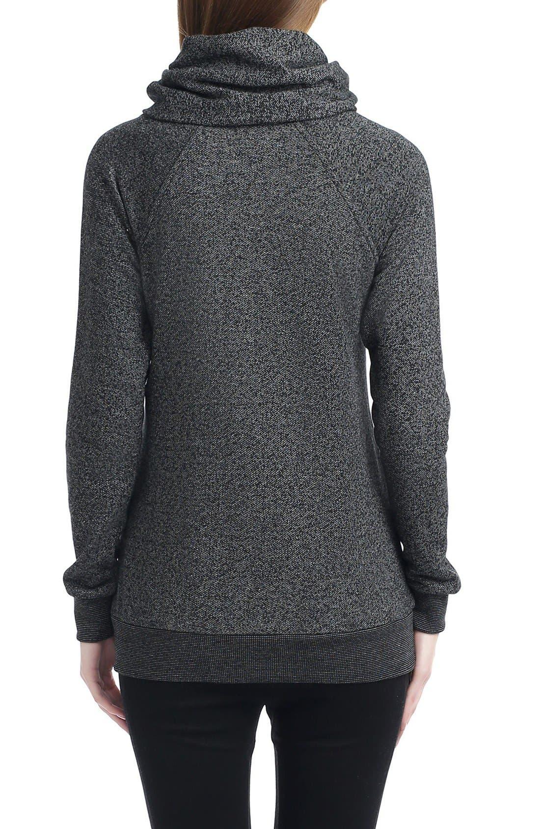 'Thea' Zip Collar Maternity Sweatshirt,                             Alternate thumbnail 2, color,                             BLACK