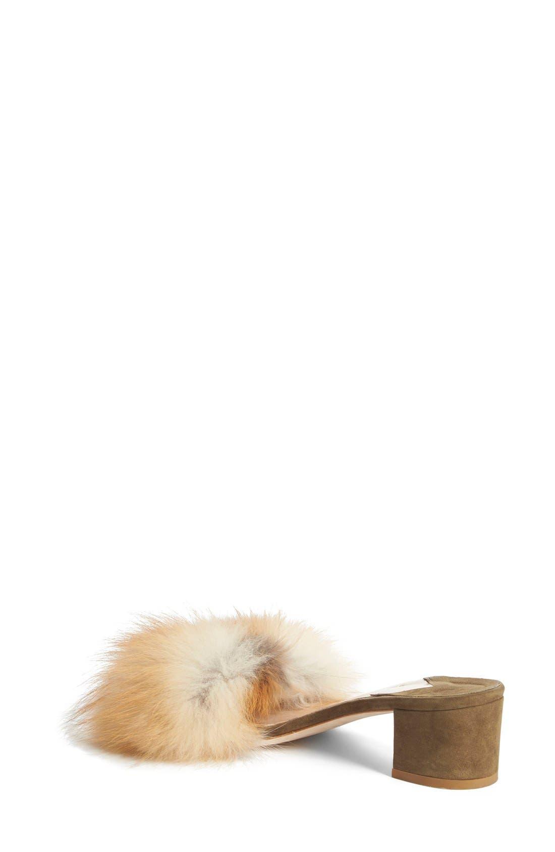 BROTHER VELLIES,                             'Tufted' Genuine Fox Fur Slide Sandal,                             Alternate thumbnail 3, color,                             230
