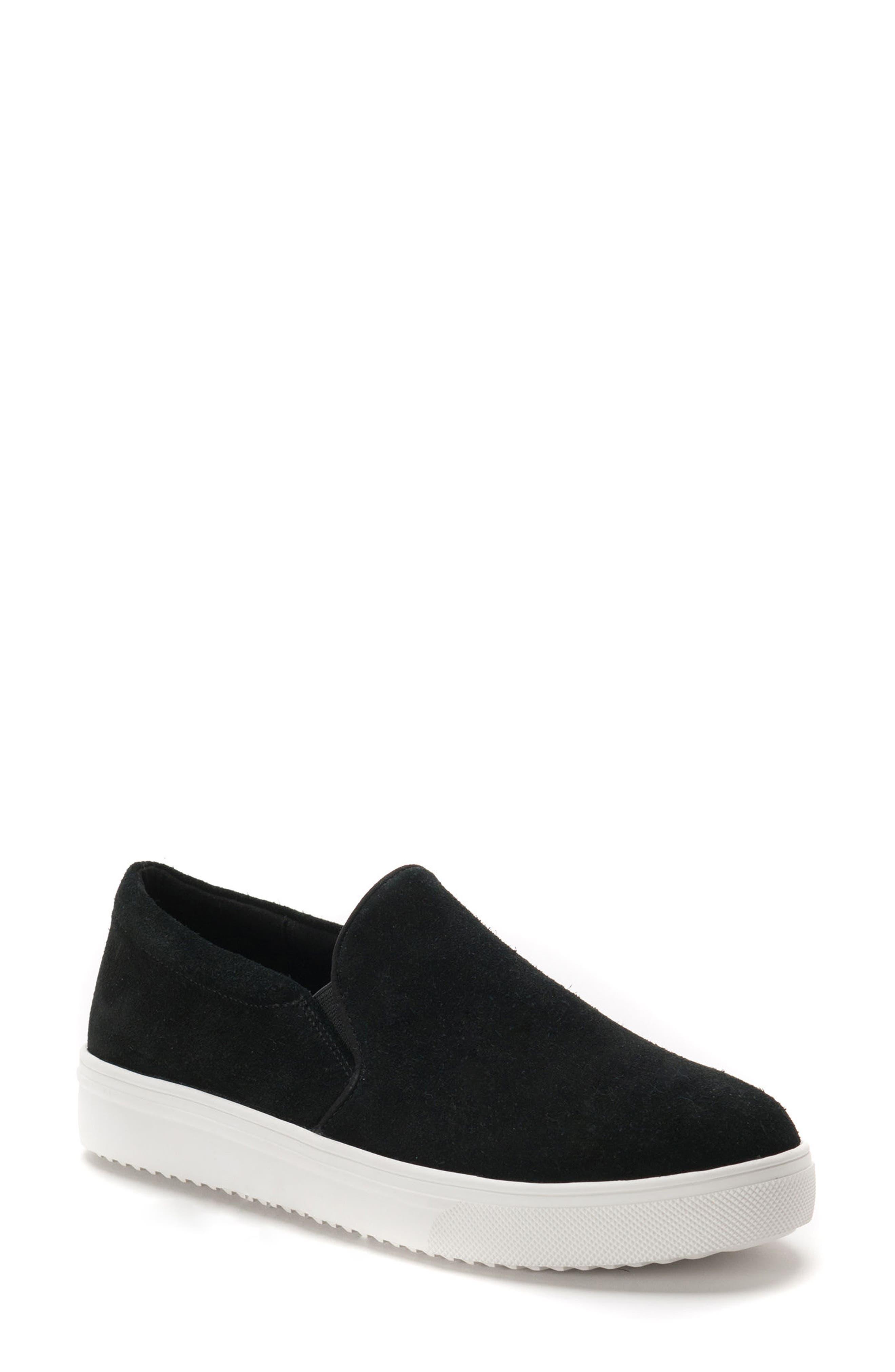 Gracie Waterproof Slip-On Sneaker,                             Main thumbnail 1, color,                             BLACK SUEDE