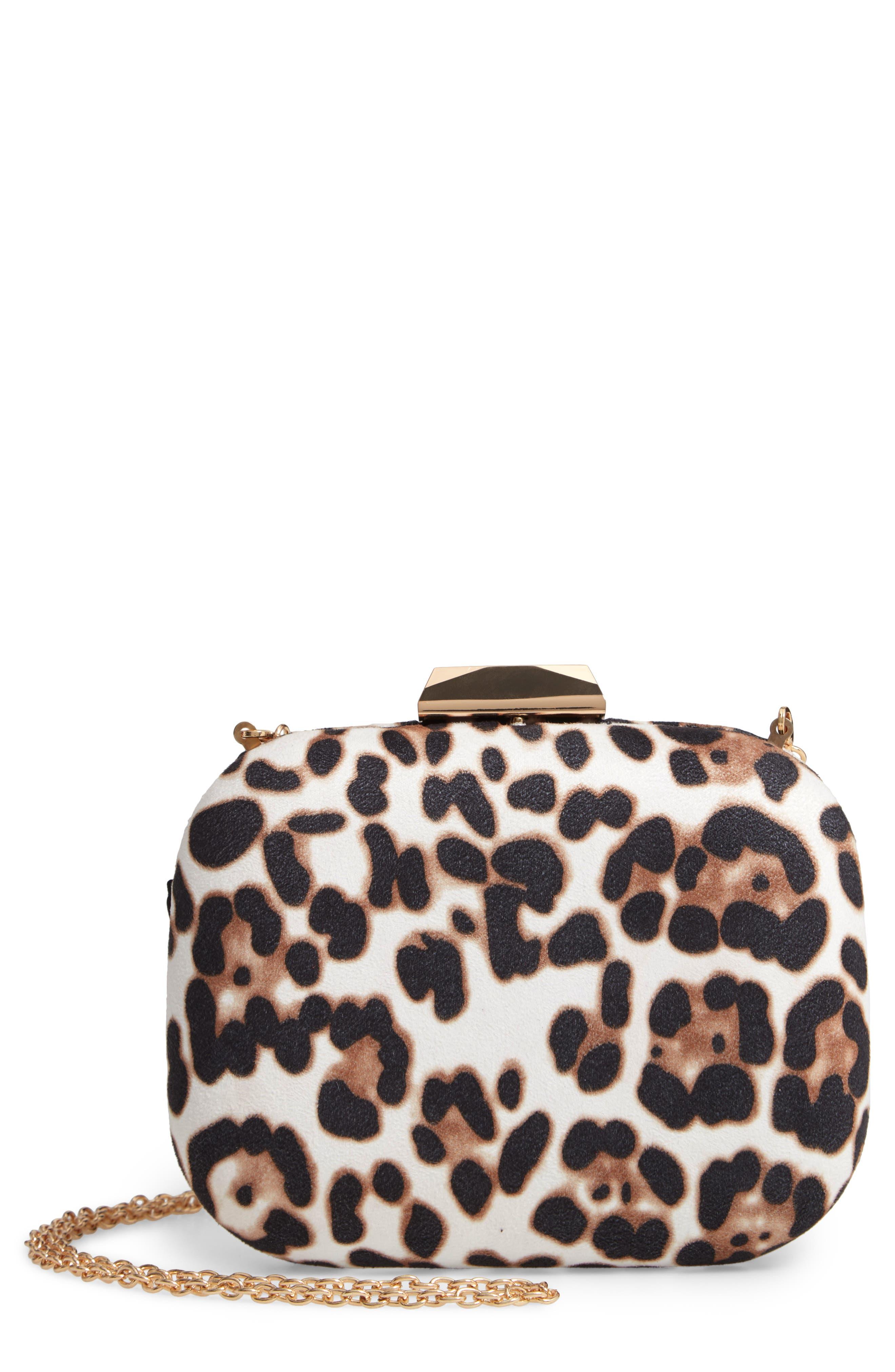 MALI + LILI Mini Katie Leopard Print Clutch, Main, color, WHITE