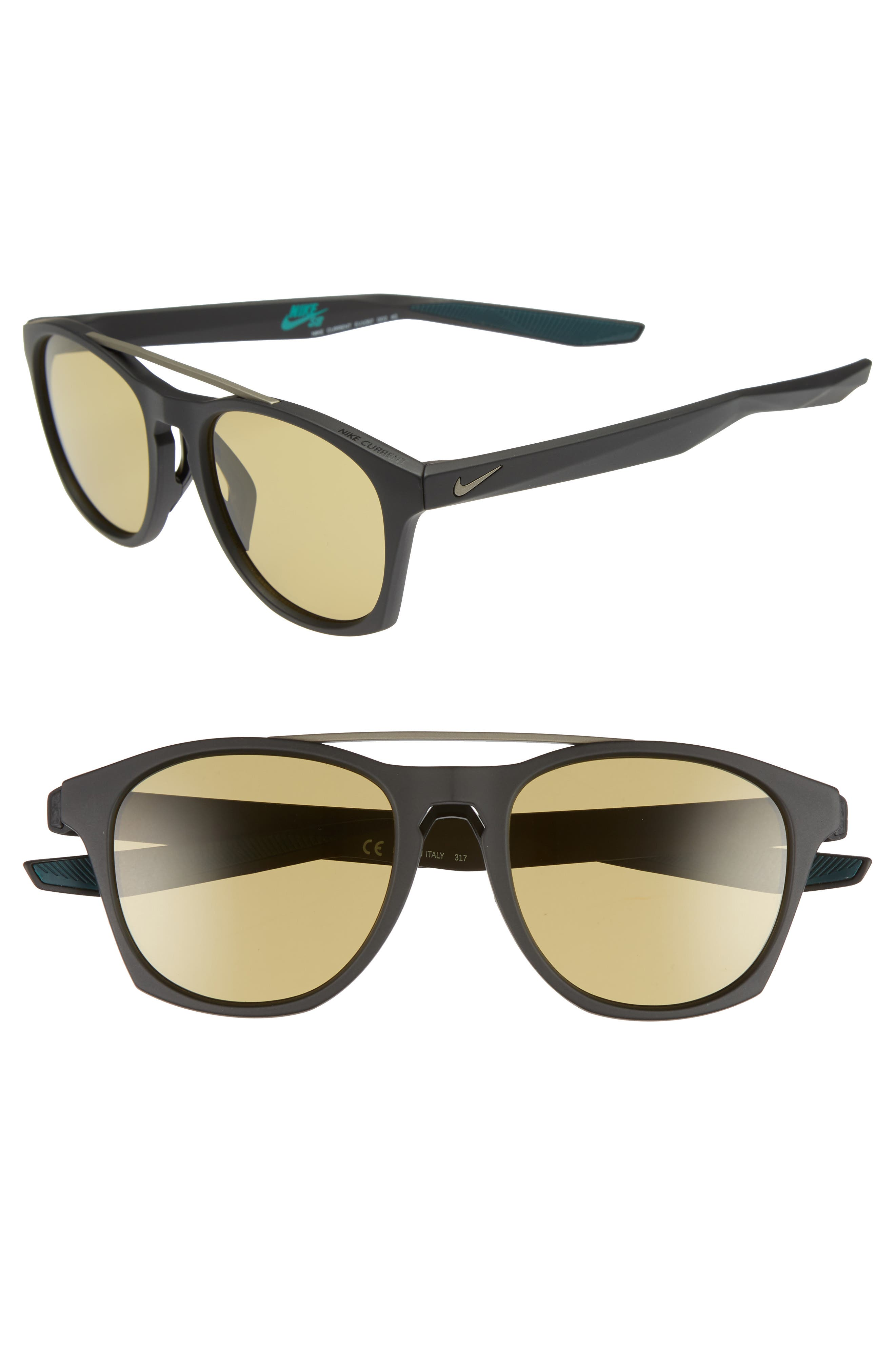 Nike Current 51Mm Sunglasses - Matte Black/ Pewter/ Amber