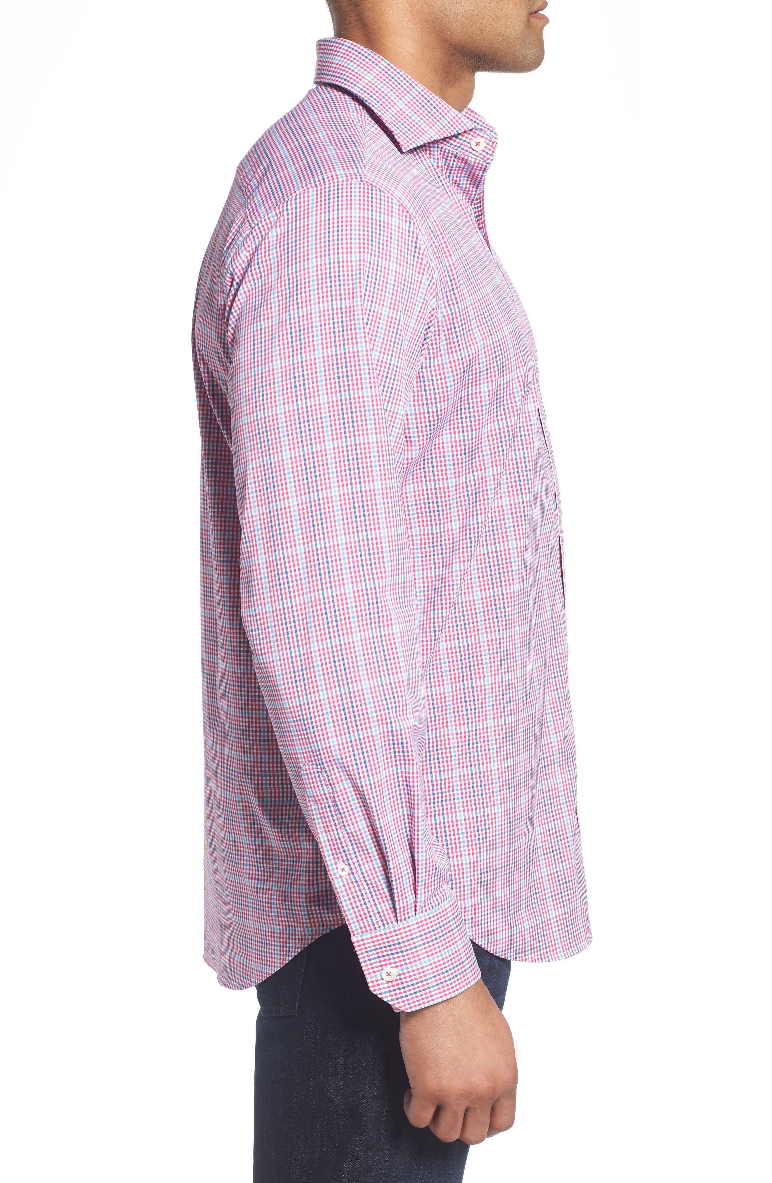 Classic Fit Pin Check Performance Sport Shirt,                             Alternate thumbnail 3, color,                             671