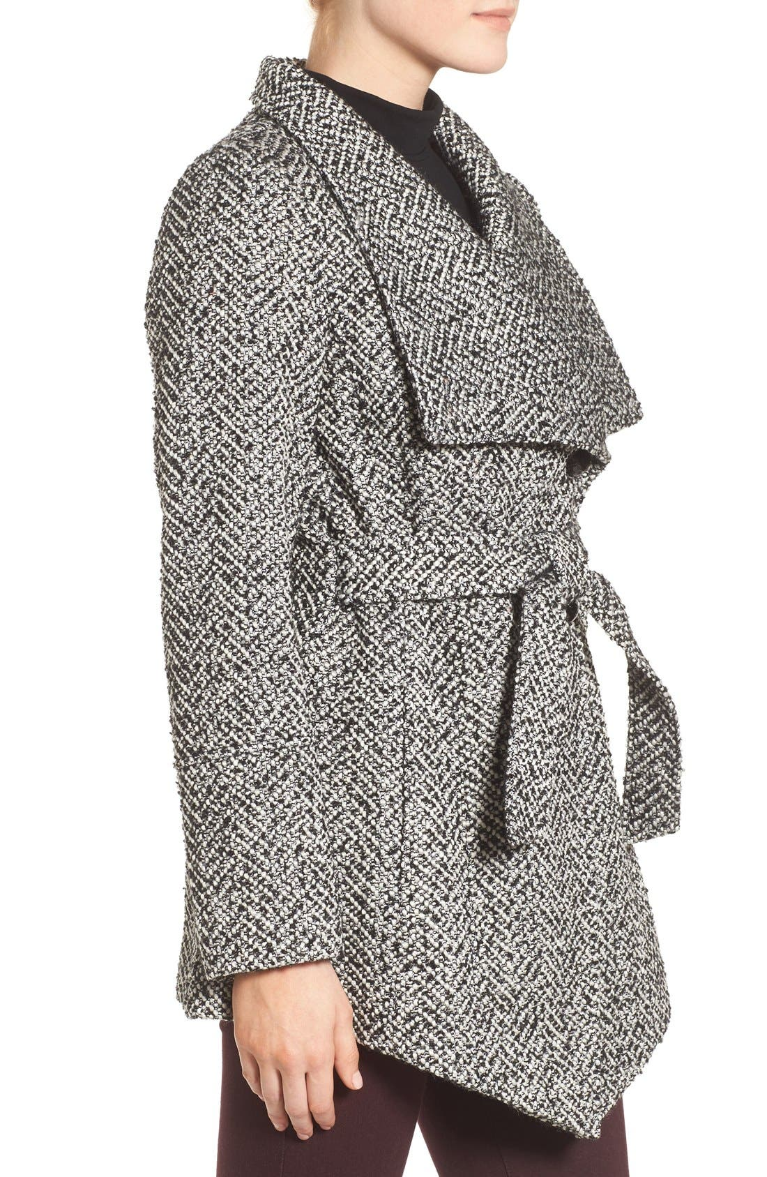 JESSICA SIMPSON,                             Belted Tweed Coat,                             Alternate thumbnail 3, color,                             003