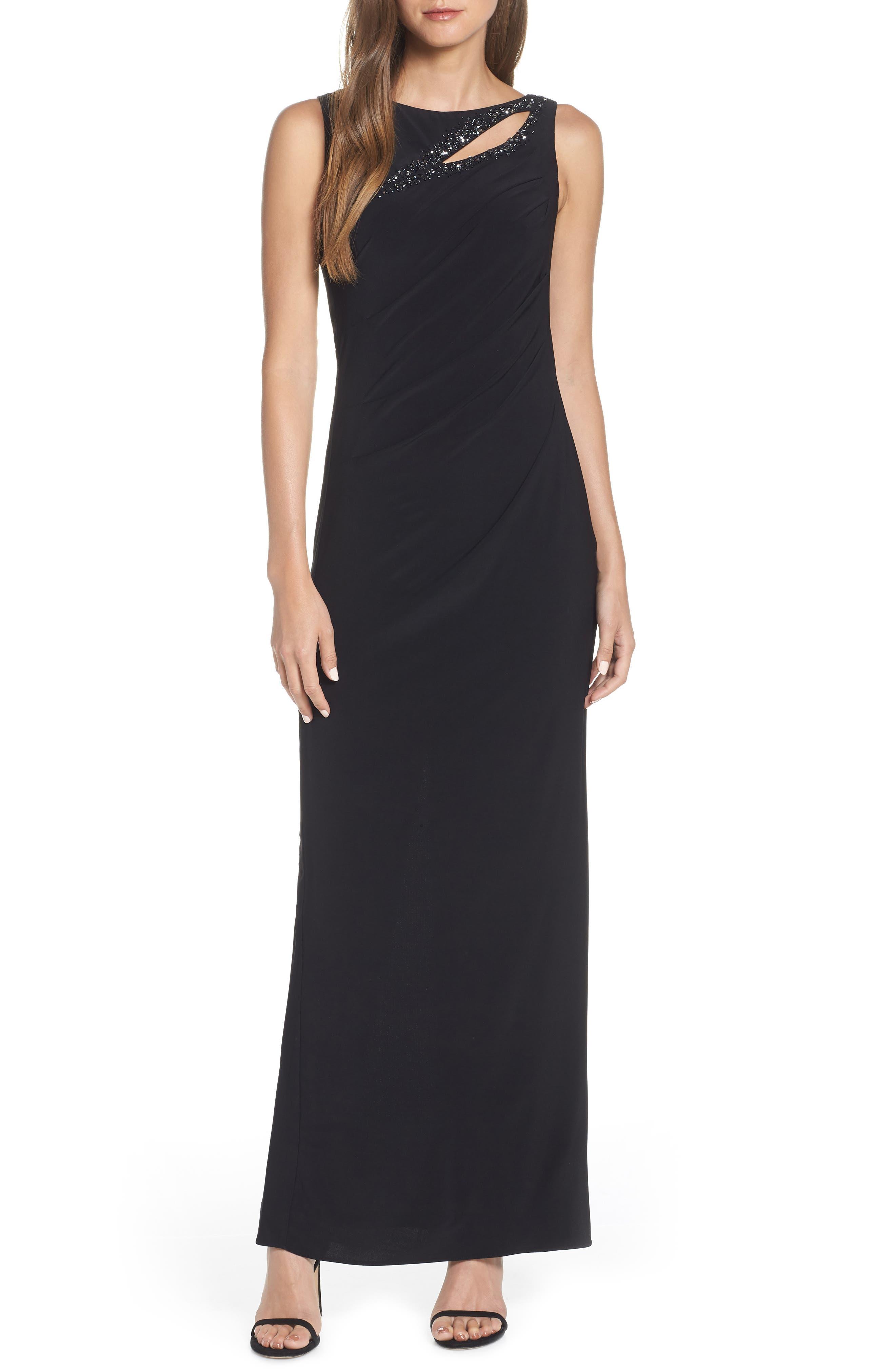 Adrianna Papell Jeweled Yoke Matte Jersey Evening Dress
