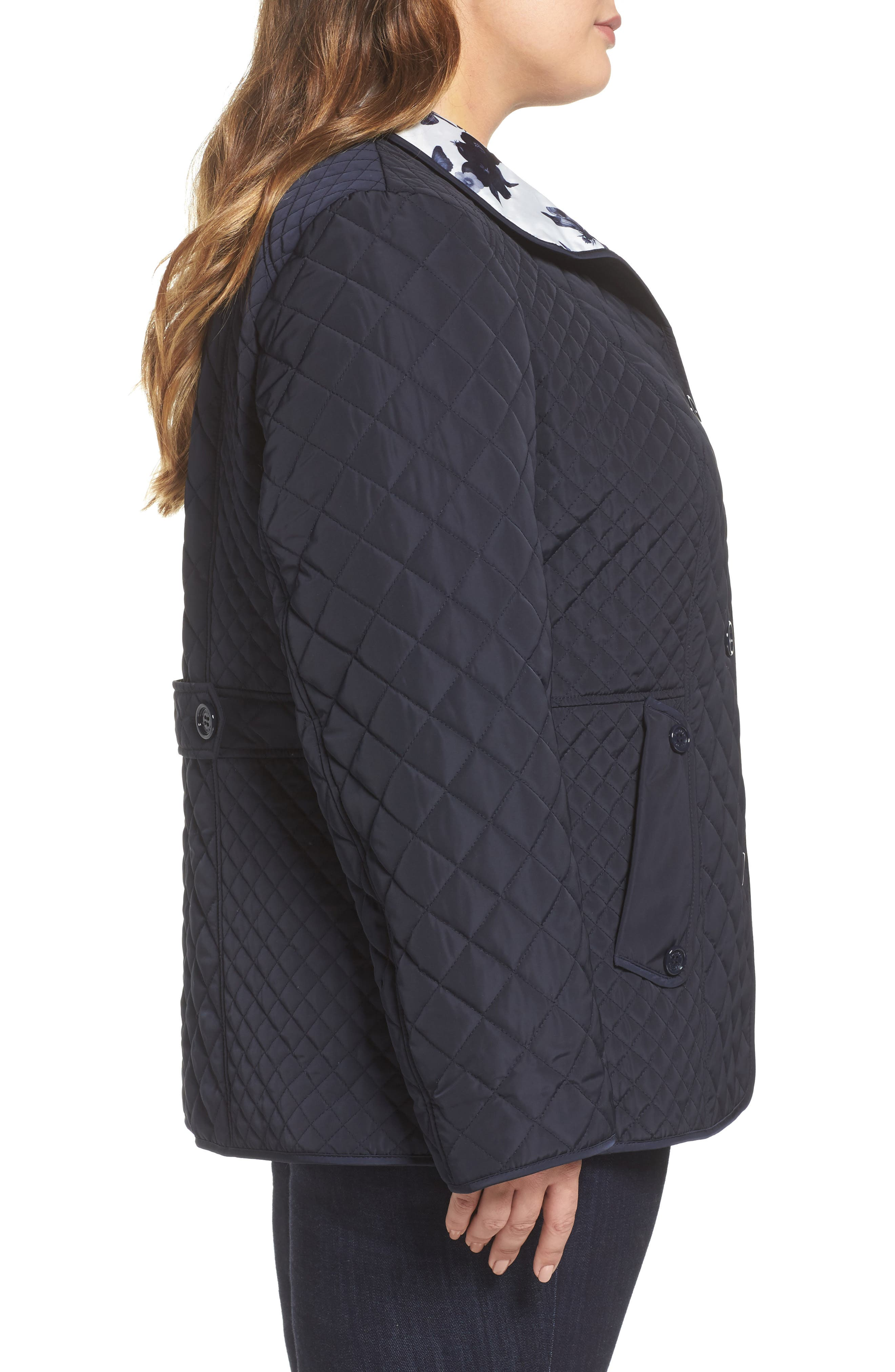 Print Collar Quilted Jacket,                             Alternate thumbnail 3, color,                             410