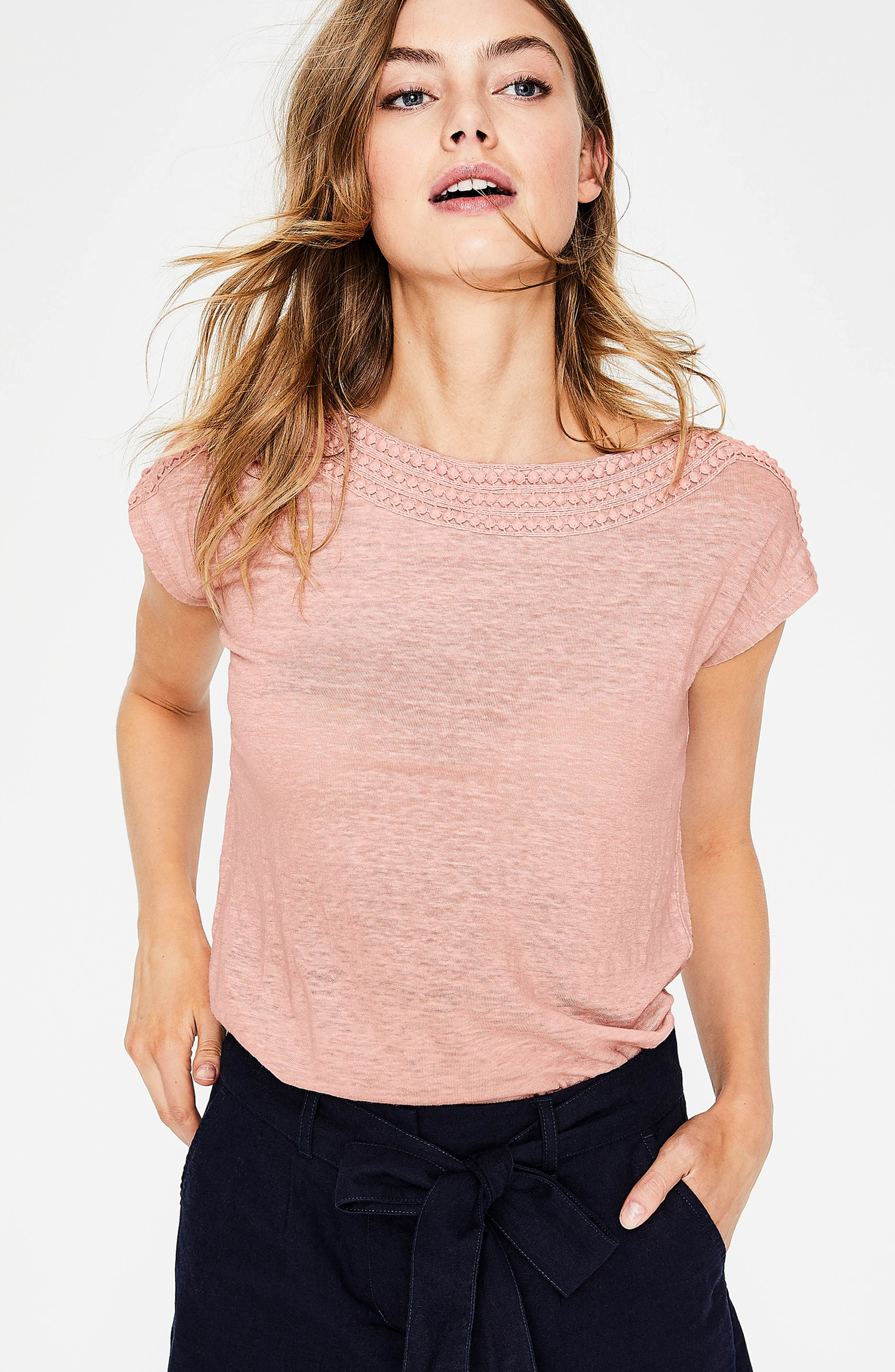 Embroidered Neck Linen Top,                             Alternate thumbnail 6, color,
