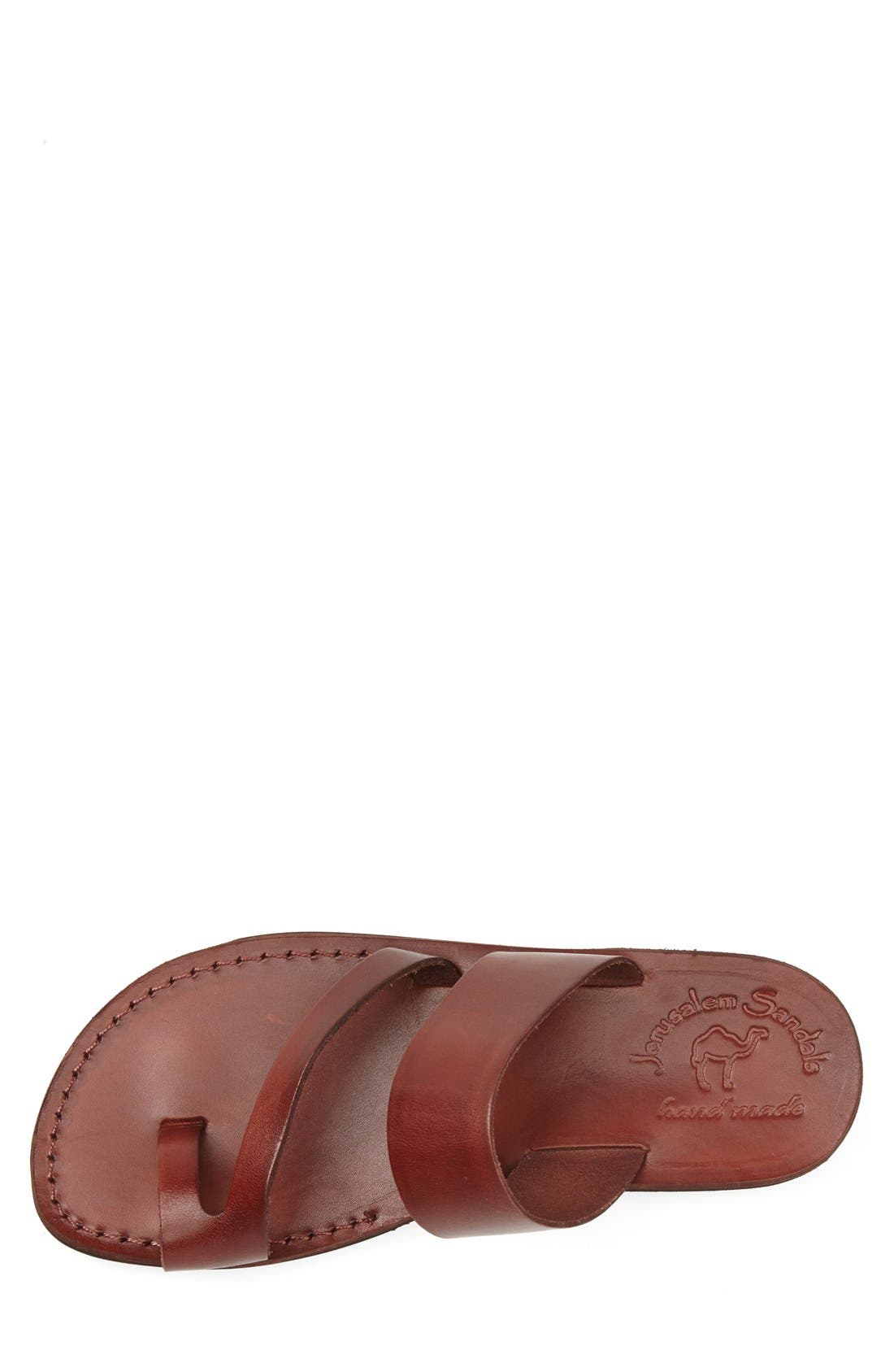 'Zohar' Leather Sandal,                             Alternate thumbnail 3, color,                             BROWN
