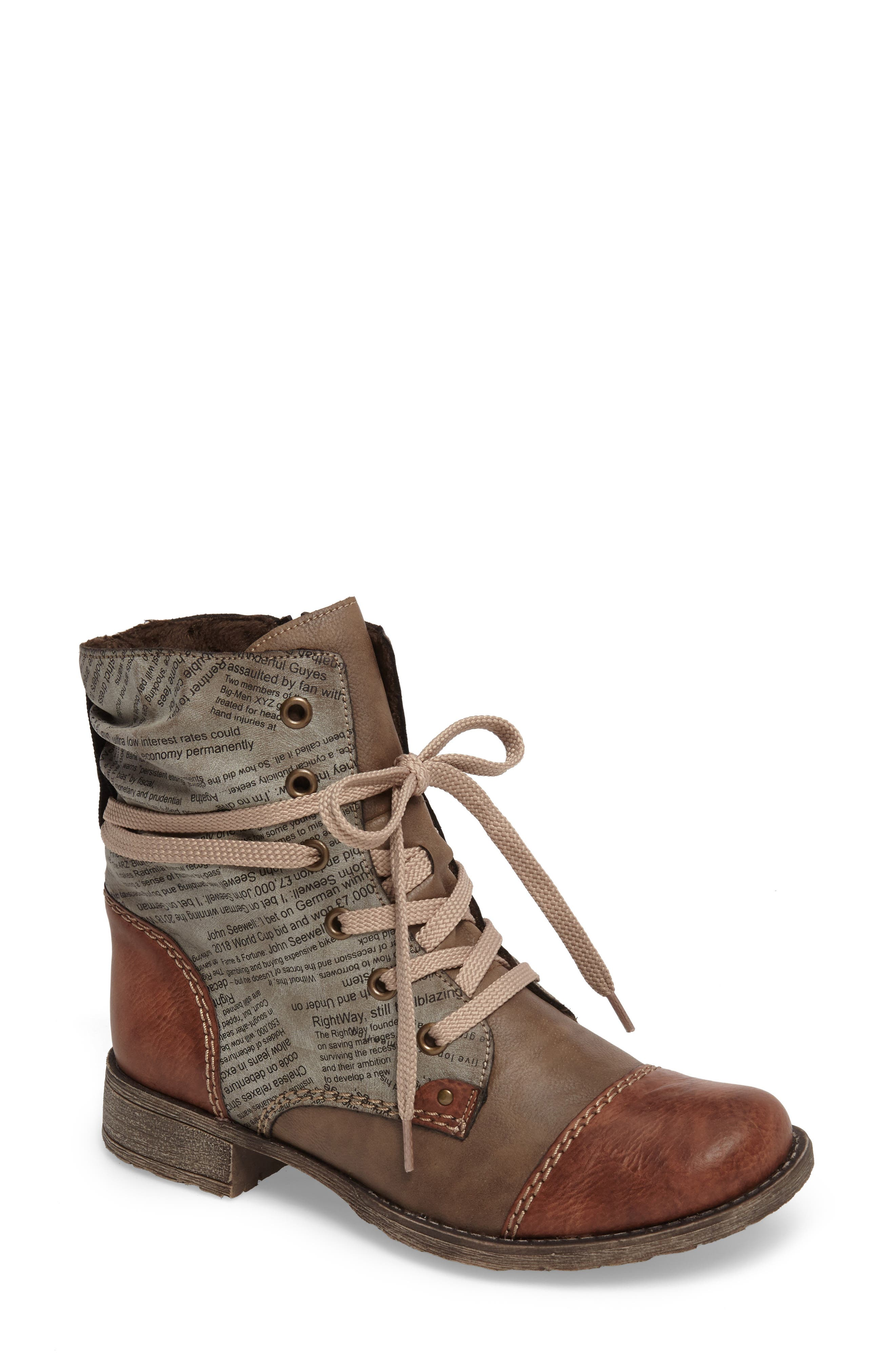 Payton 22 Lace-Up Boot,                             Main thumbnail 1, color,                             BRANDY/ CIGAR FAUX LEATHER