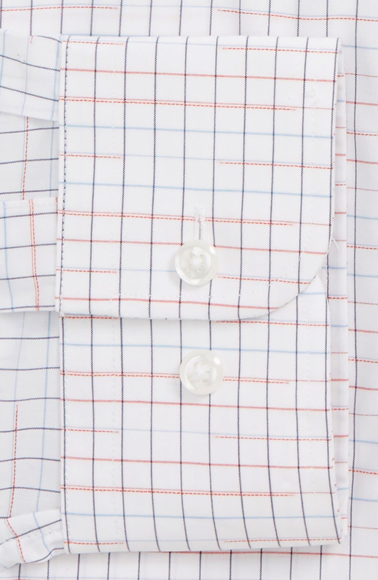 Trim Fit Check Dress Shirt,                             Alternate thumbnail 6, color,                             RED CHILI