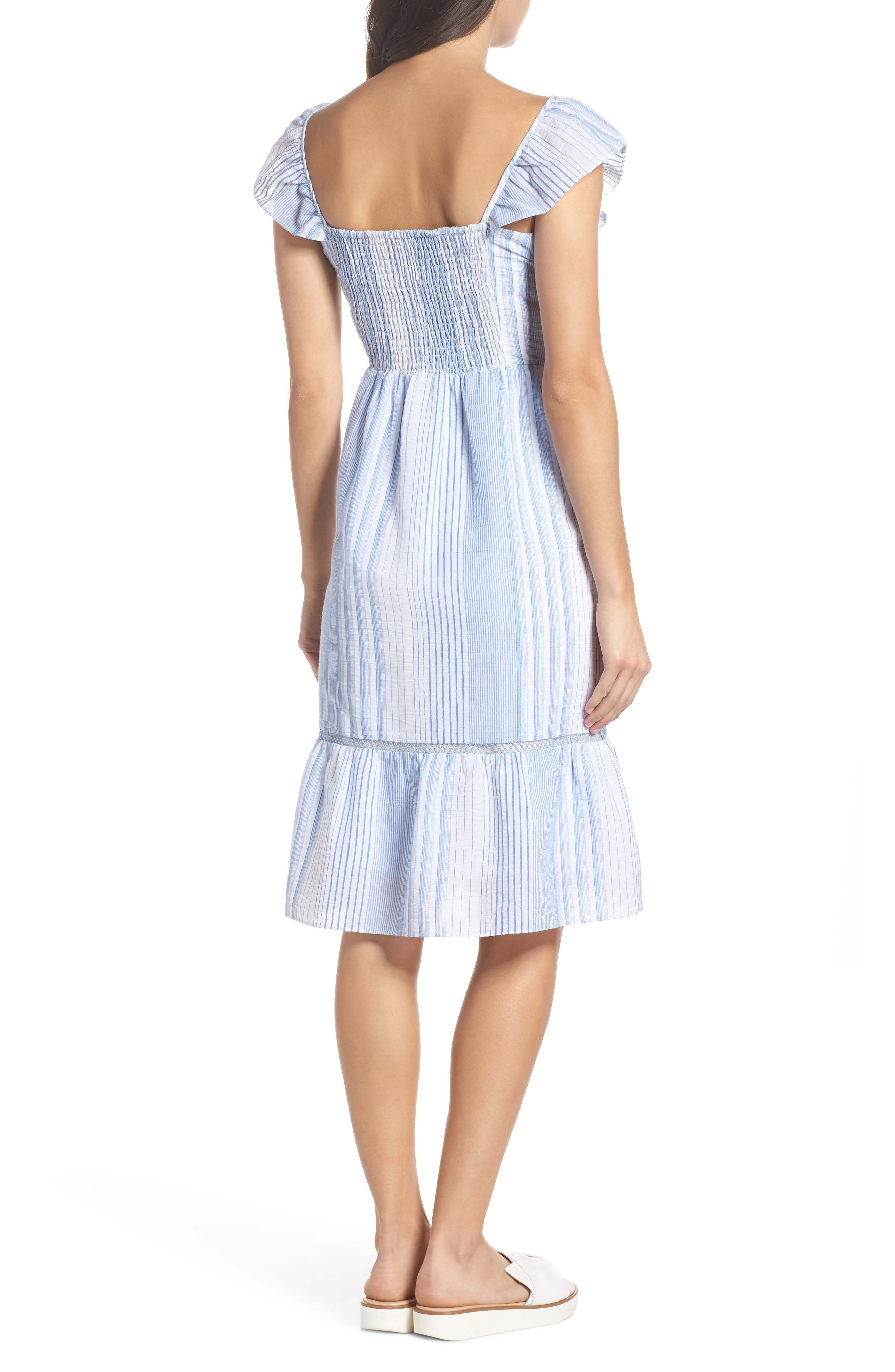 Spencer Stripe Ruffle & Lace Sundress,                             Alternate thumbnail 2, color,                             400