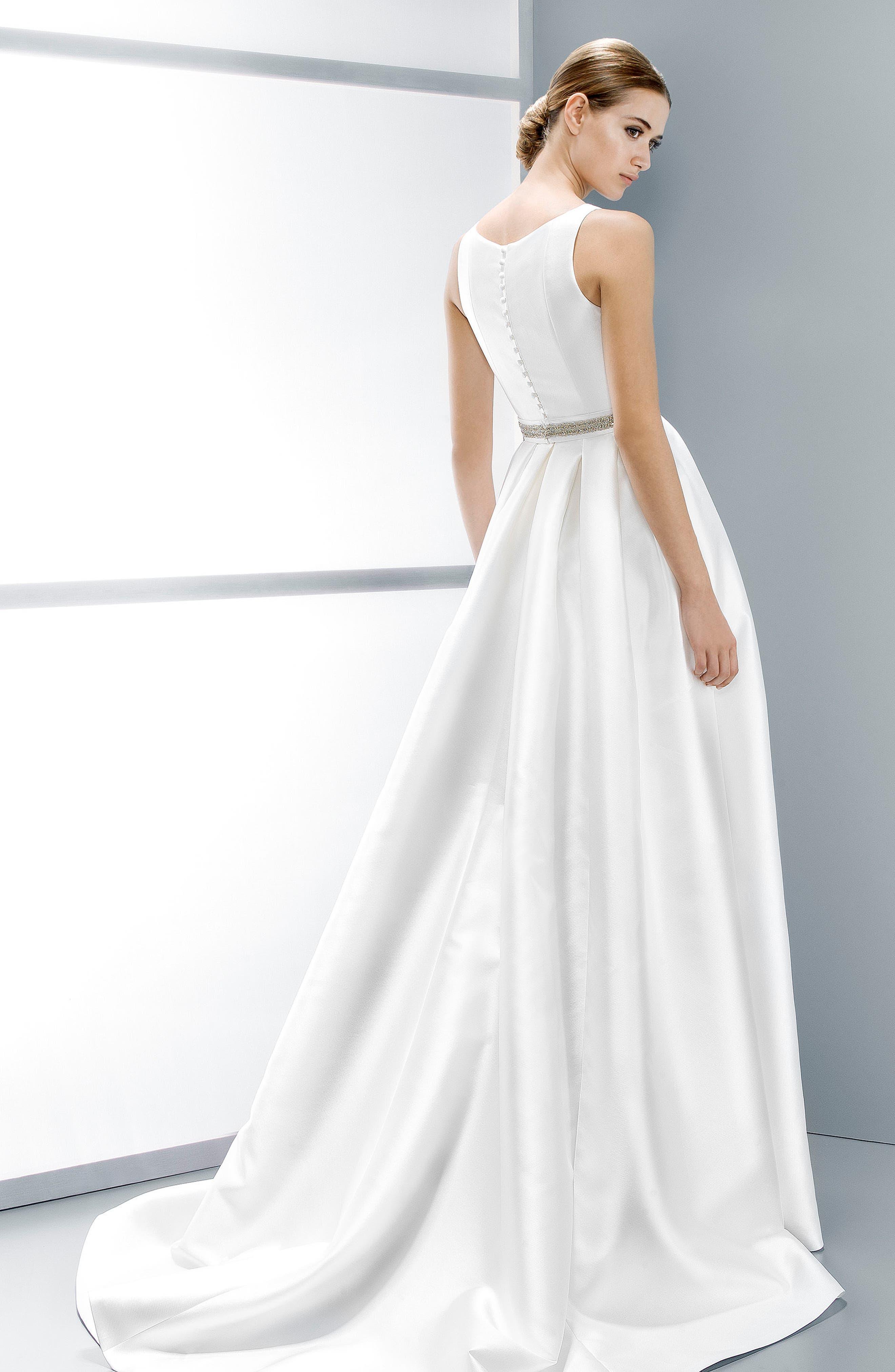 Embellished Waist Mikado A-Line Dress,                             Alternate thumbnail 7, color,                             IVORY