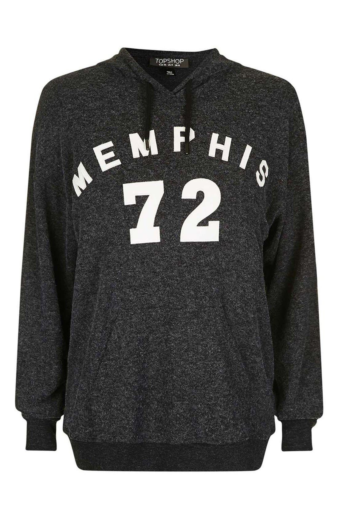 TOPSHOP,                             Memphis Brushed Hoodie,                             Alternate thumbnail 5, color,                             021