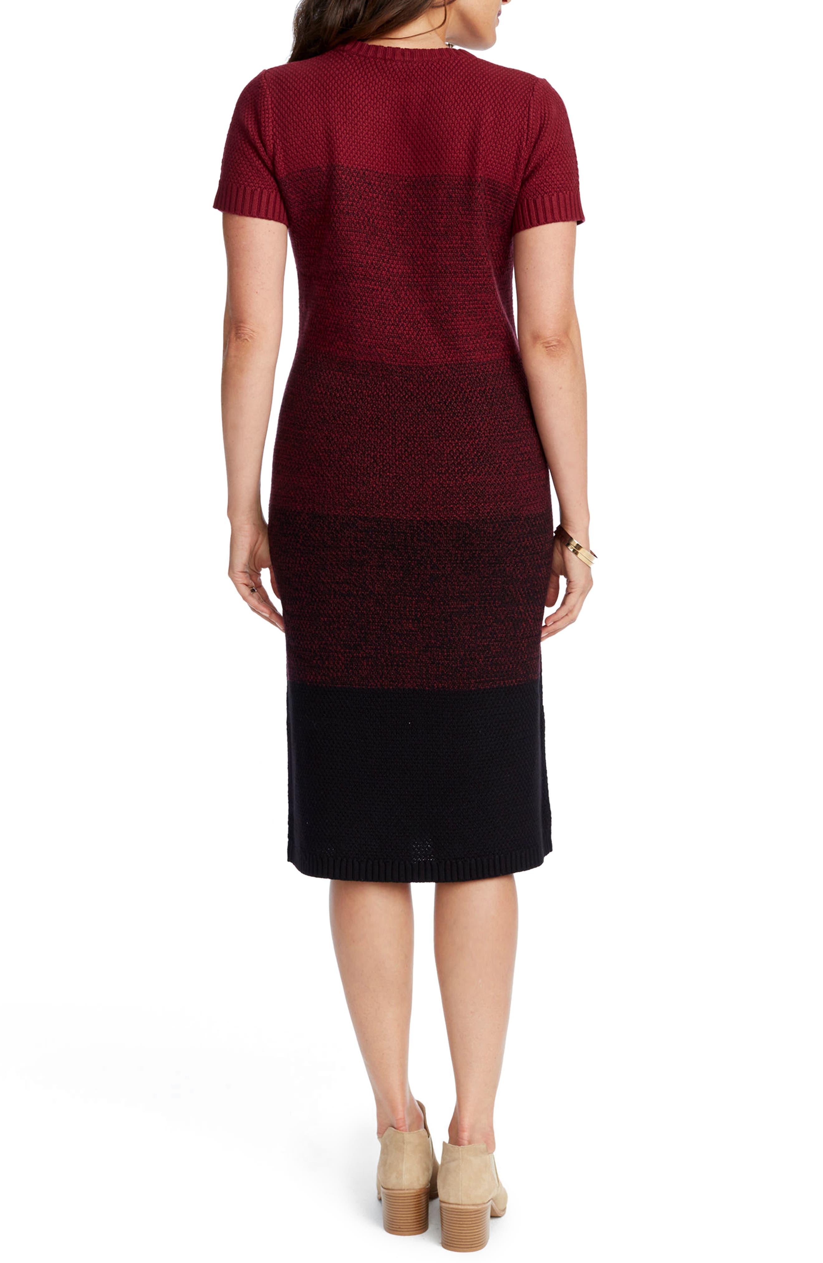 Daisy Ombré Maternity T-Shirt Dress,                             Alternate thumbnail 2, color,                             BURGUNDY OMBRE