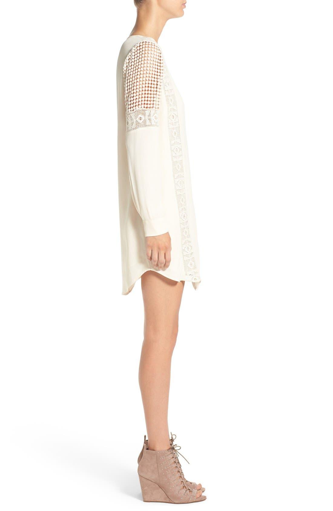ASTR Crochet Inset Cotton Shift Dress,                             Alternate thumbnail 6, color,
