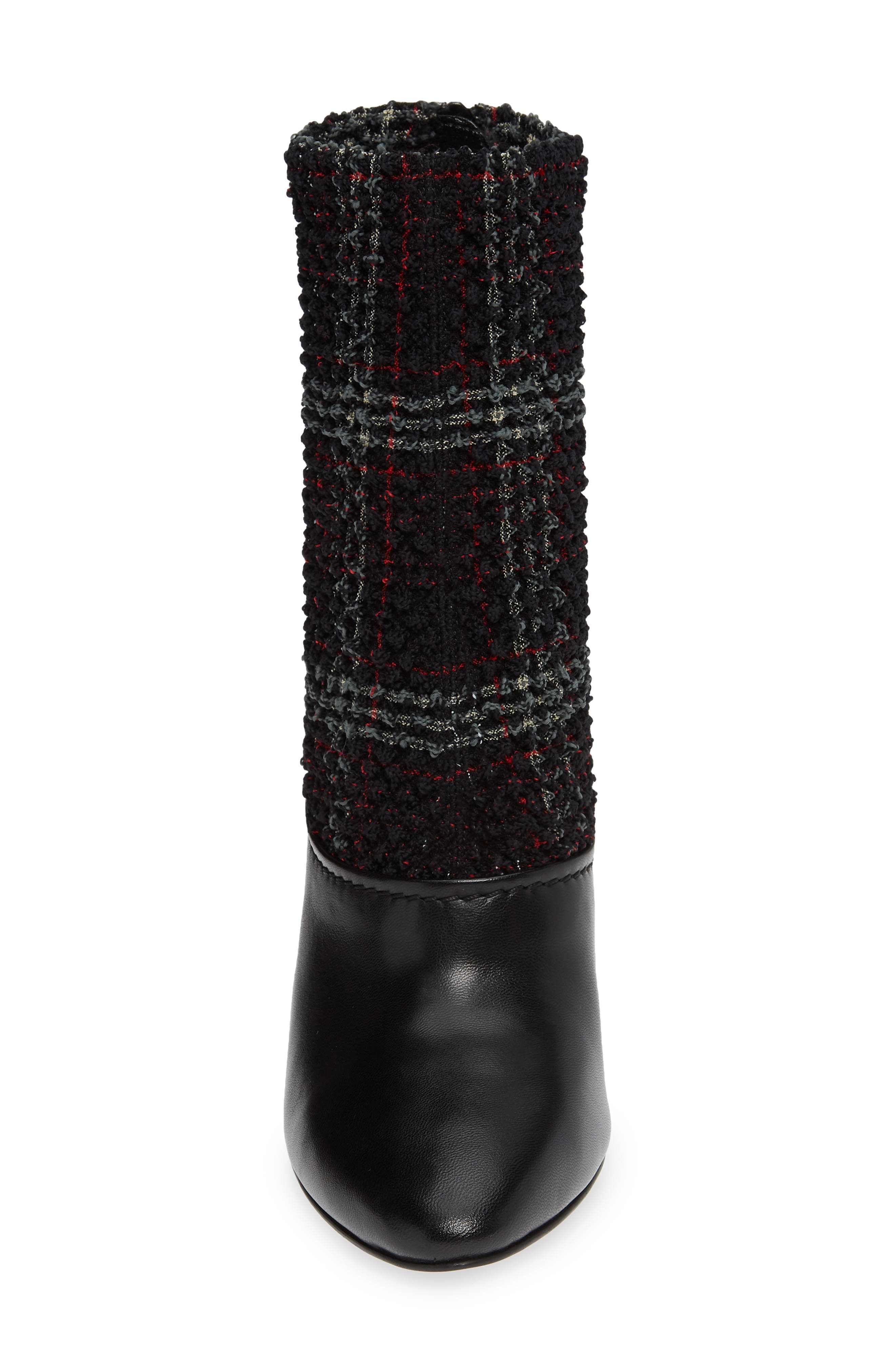 Kyoto Leather Bootie,                             Alternate thumbnail 4, color,                             BLACK/ GREEN/ RED CHECK